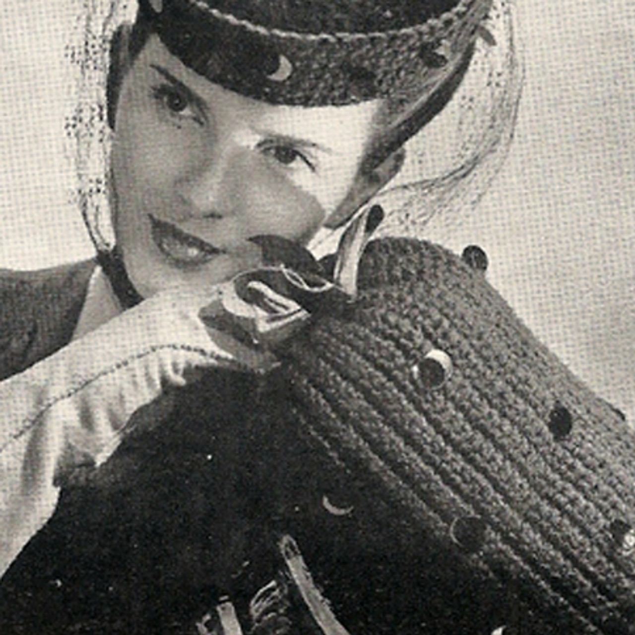 Paillette Trimmed Hat and Muff Crochet Pattern