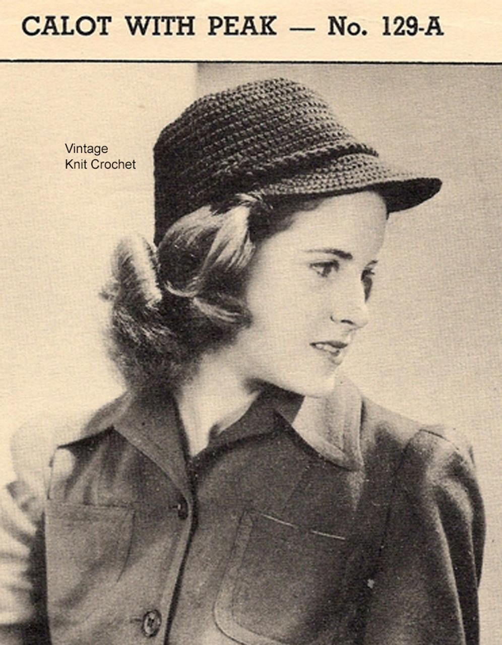 Vintage Brimmed Hat Crochet Pattern, 1940s