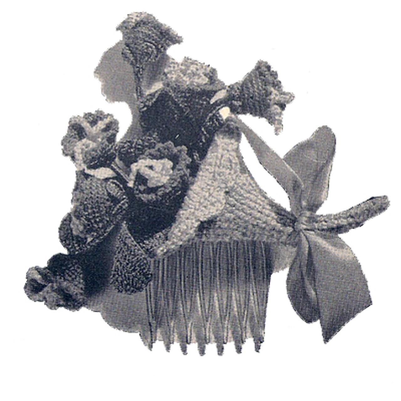 Crochet Flowers Comb Hair Piece pattern
