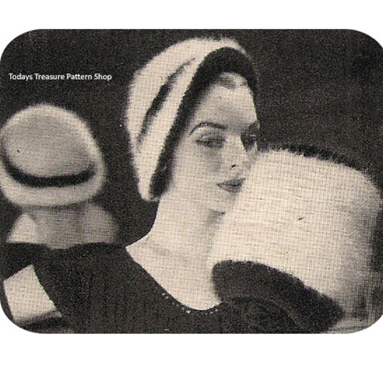 Vintage Angora Cloche Hat Pattern with Muff