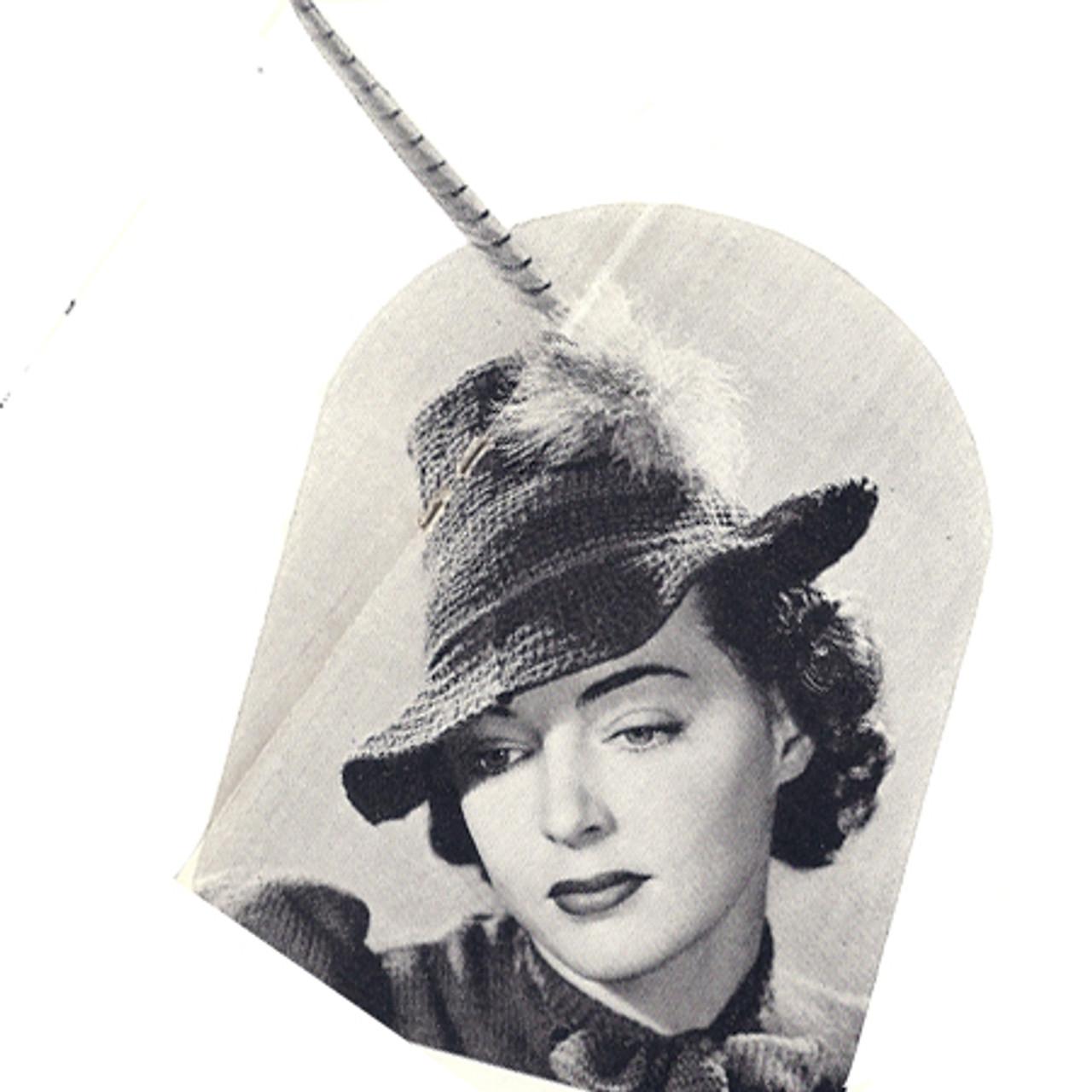 Crocheted Fashion Hat Pattern Vintage 1940s