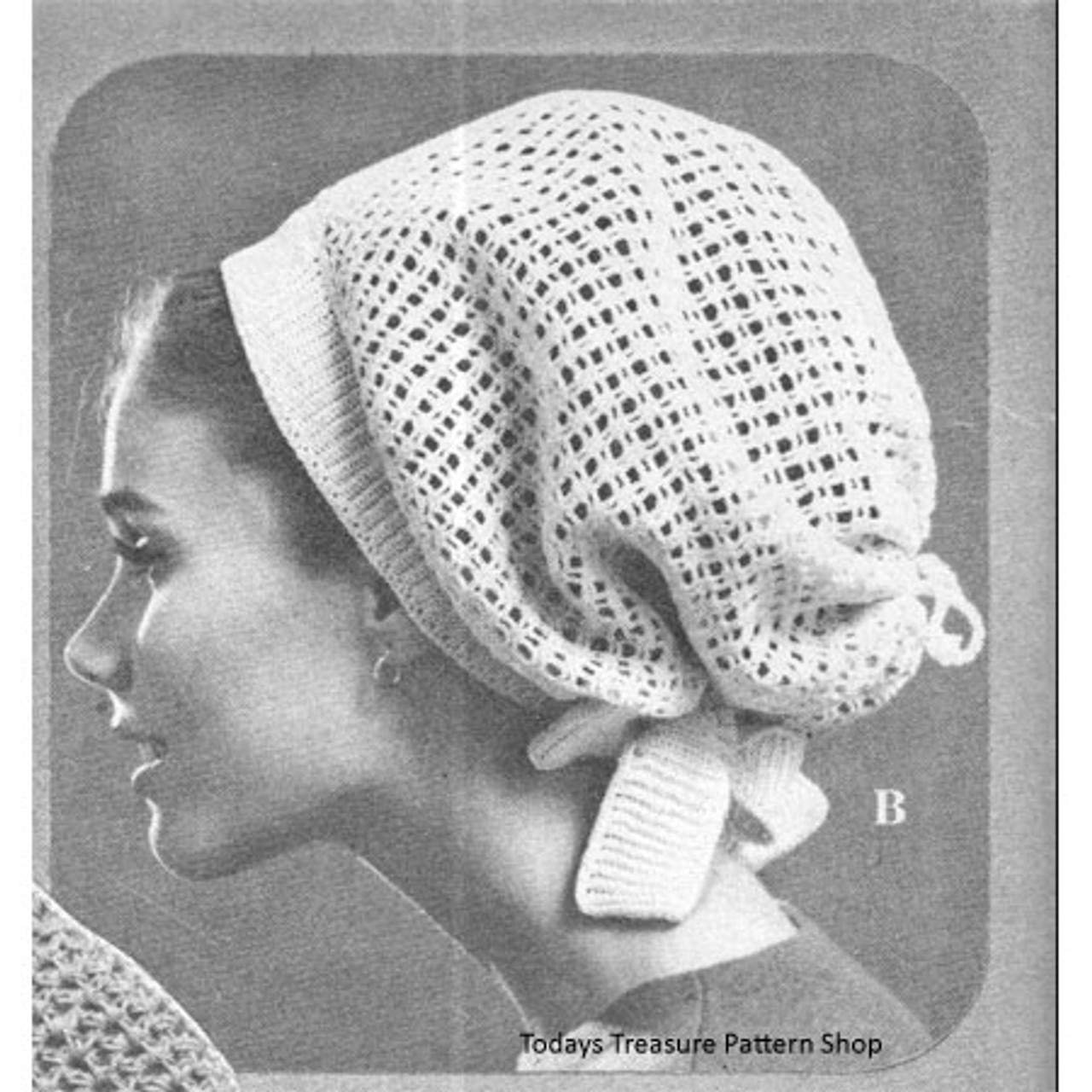 Crochet Net Hood Hat Pdf Pattern