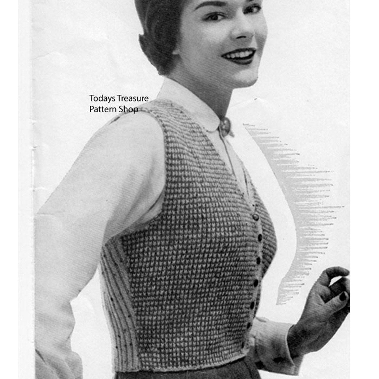 Vintage Fitted Vest Knitting Pattern