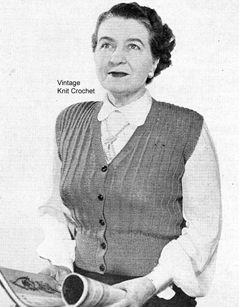 Womans Knitted Vest Pattern, Rib Stitch