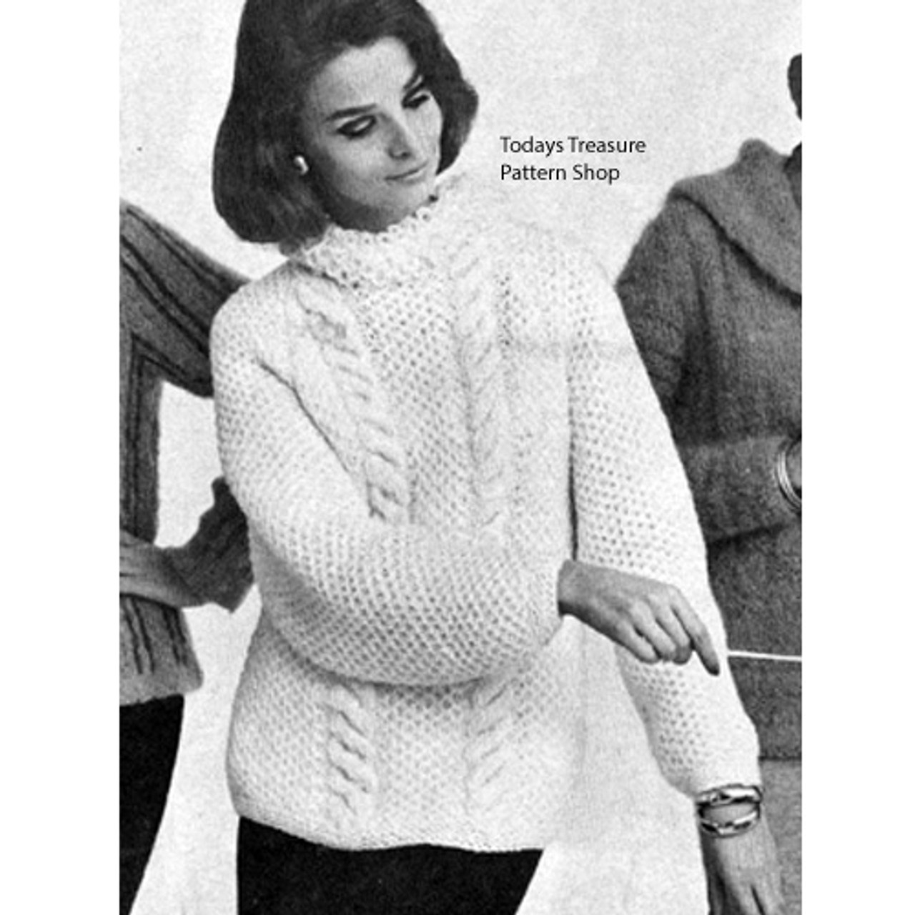 Knitted Cable Pullover Pattern with Loop Collar