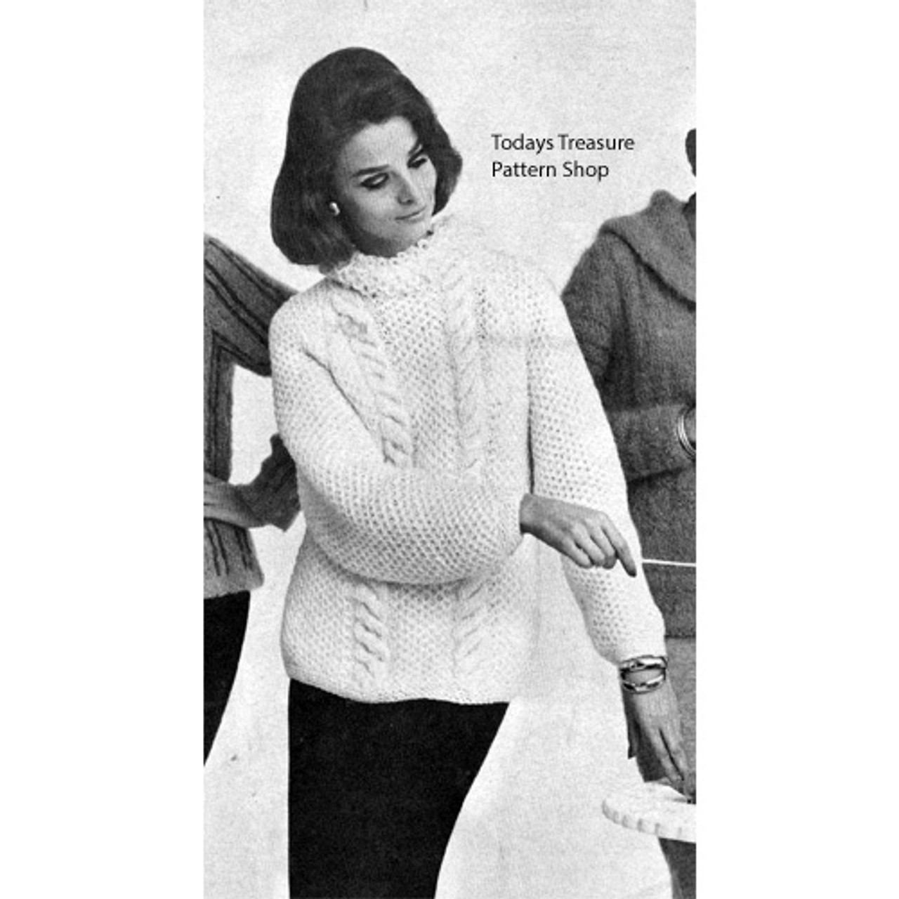 Loop Collar Cabled Pullover Knitting Pattern