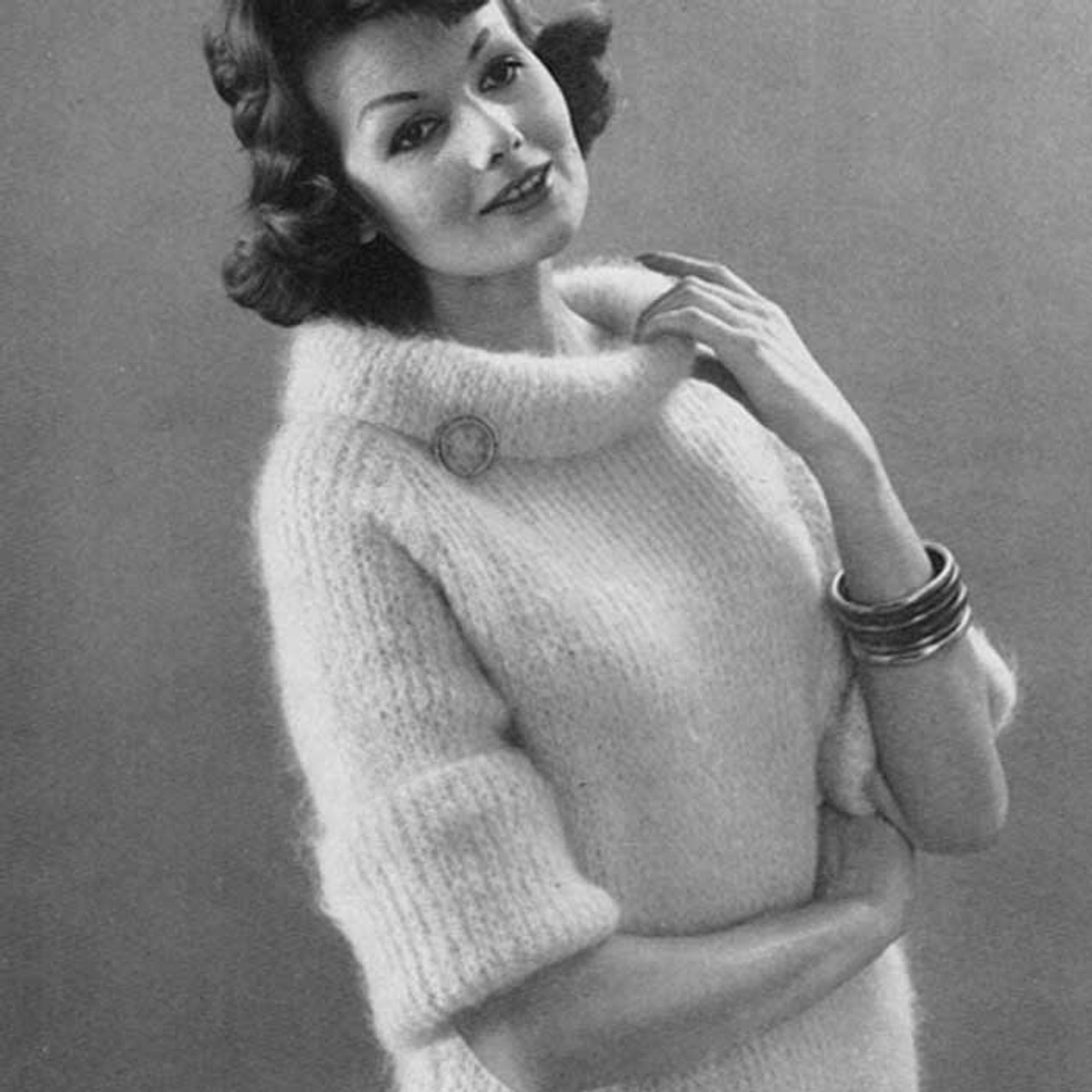 Vintage Mohair Sweater Pattern with Cowl Collar