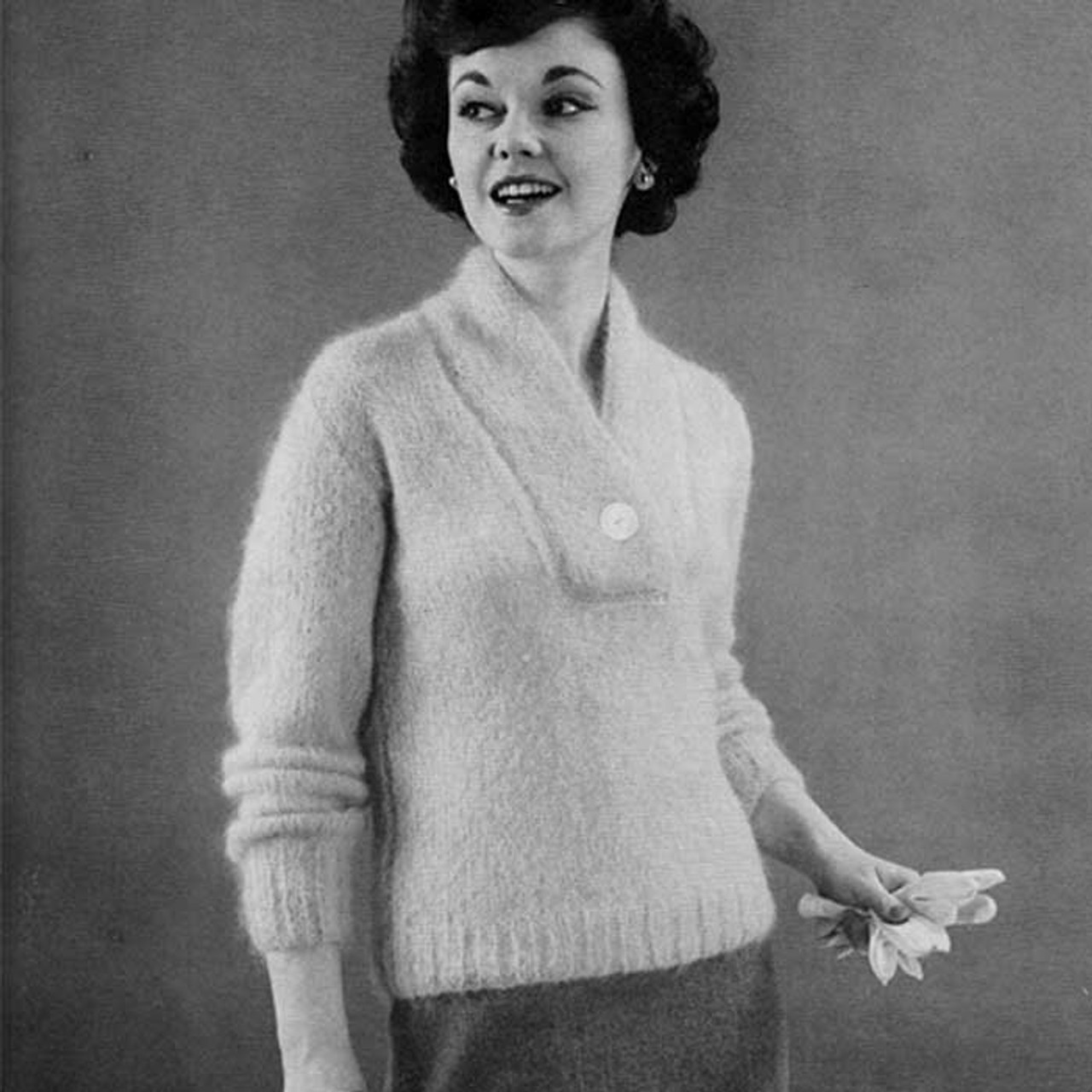 Vintage Knit Yoked Sweater Pullover Pattern
