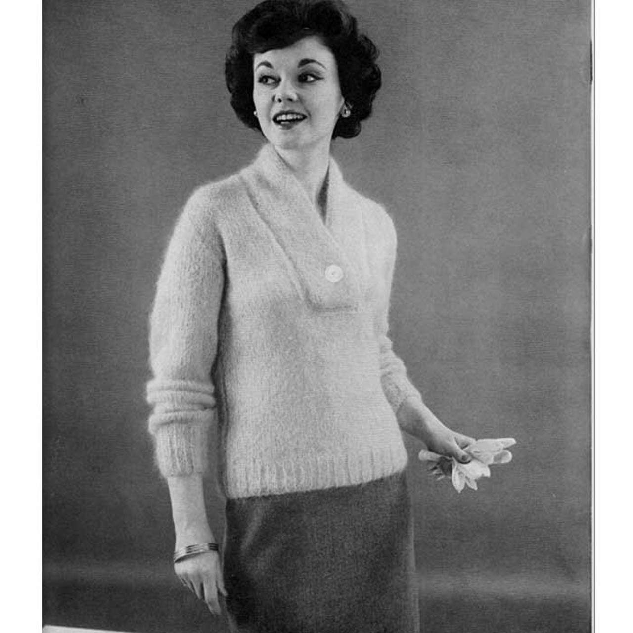 Knitting Pattern Yoked Pullover, Vintage 1950s