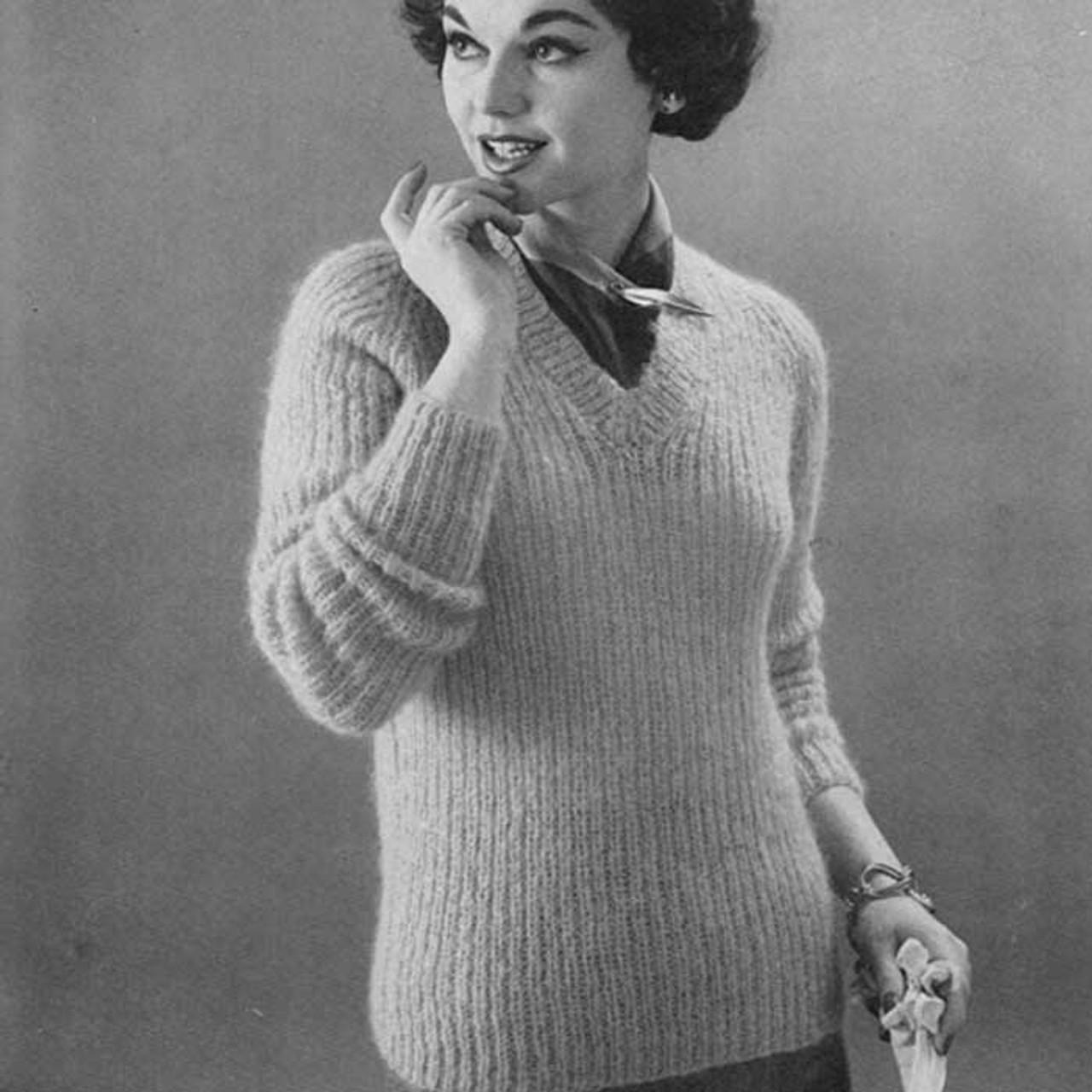 Vintage Ribbed Pullover Knitting Pattern