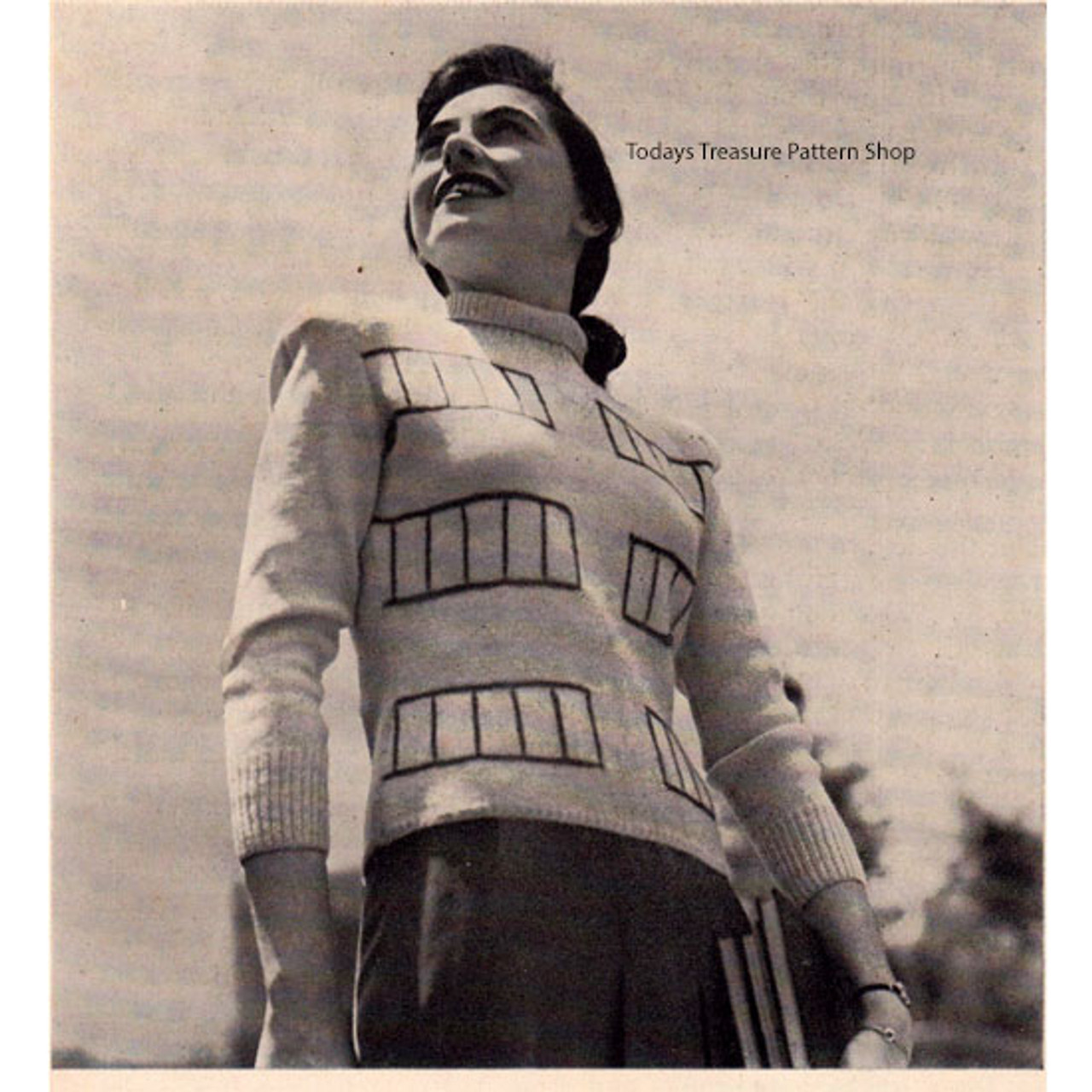 Knitting Pattern, Striped Turtleneck