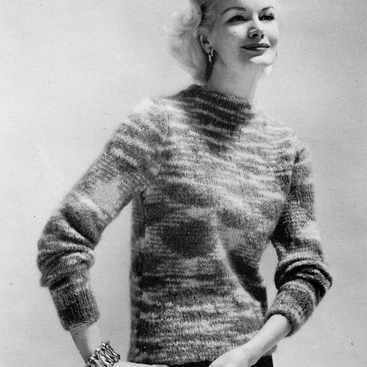 Mohair Fantastica Knitted Boat Neck Sweater Pattern