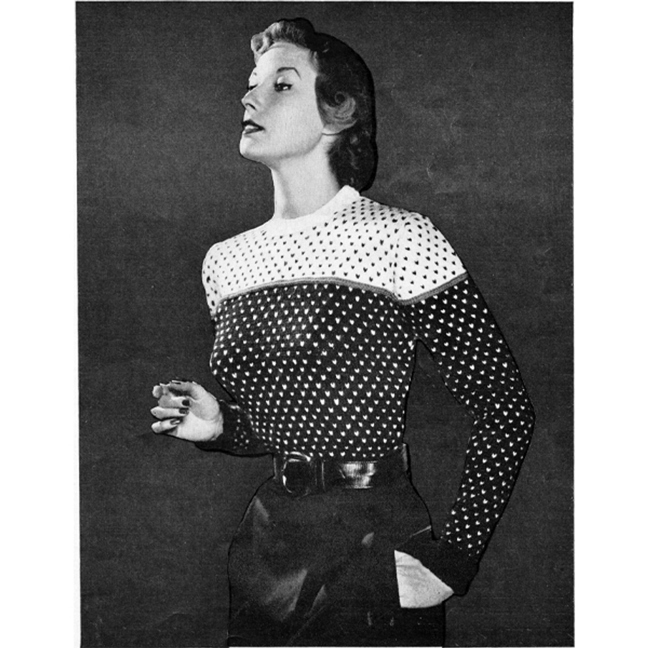 Knitting Pattern checked two tone sweater