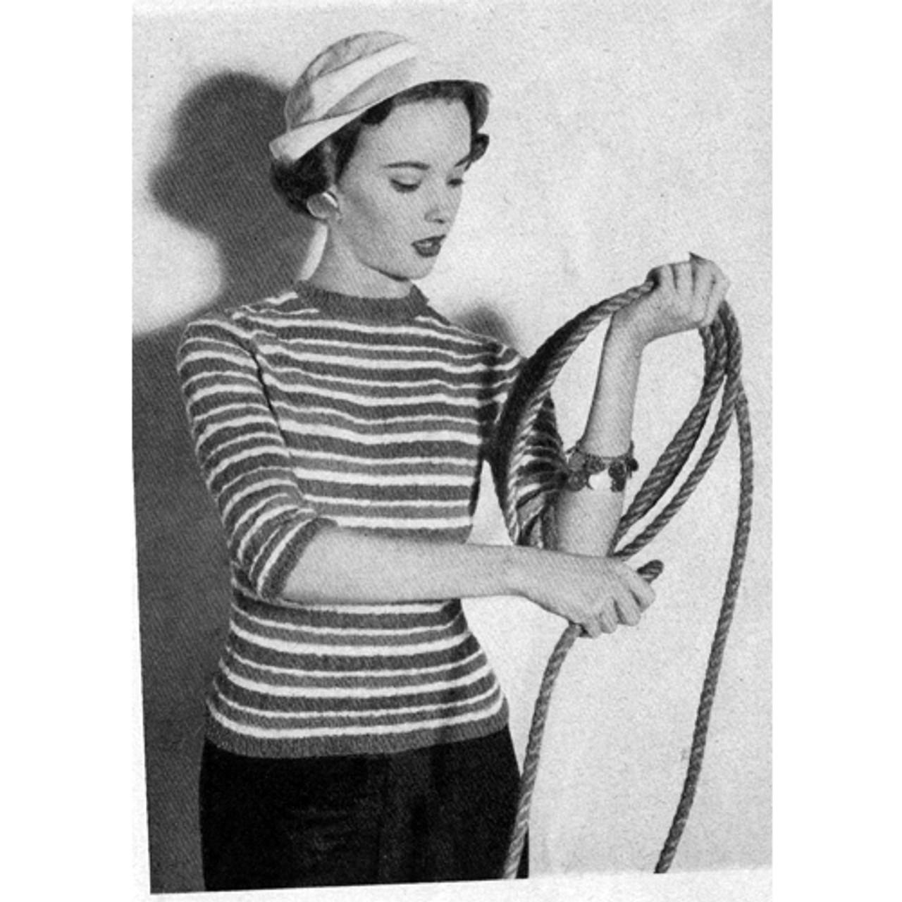 Bucilla Nubby Knit Strip Pullover Pattern