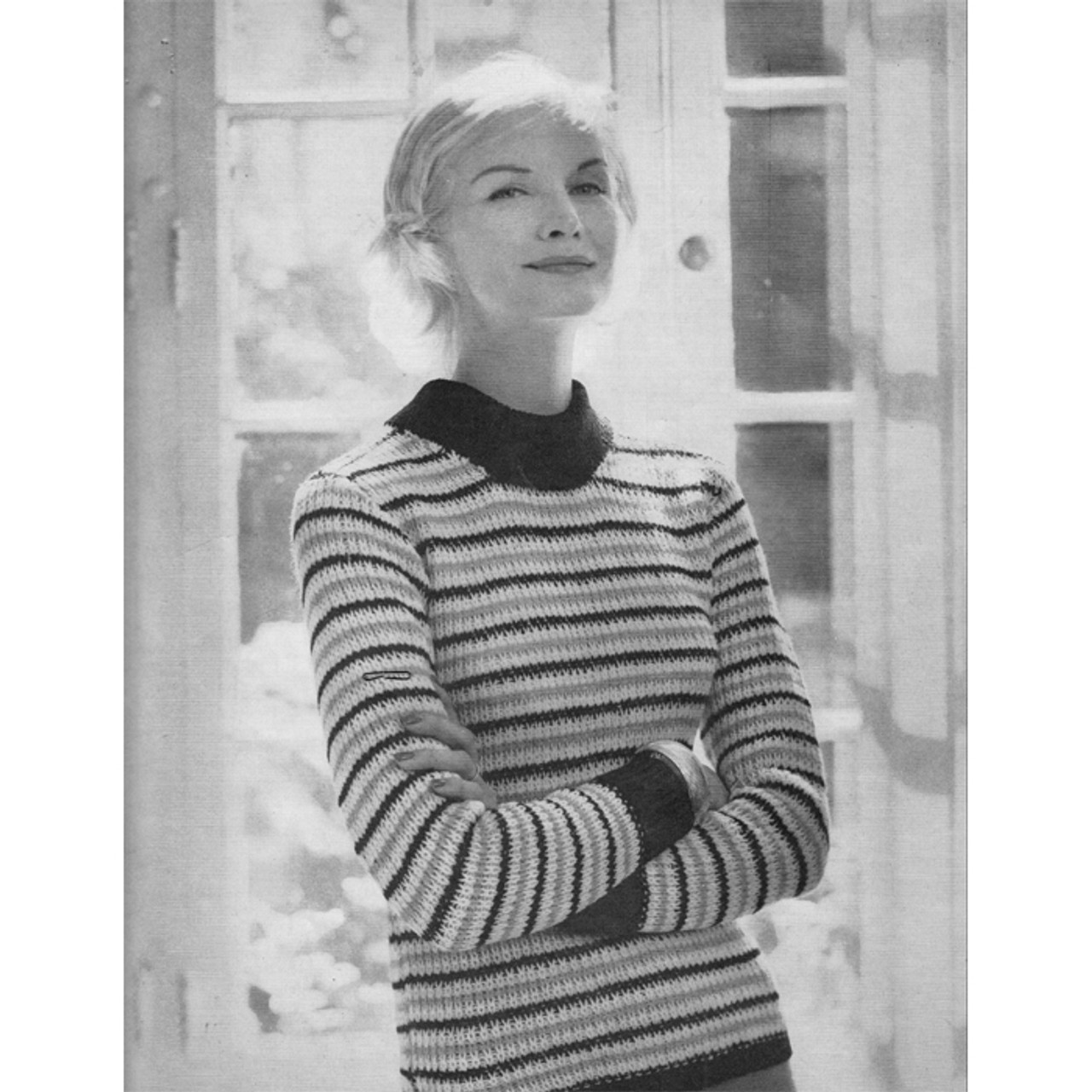 Tri Color Striped Pullover Knitting pattern