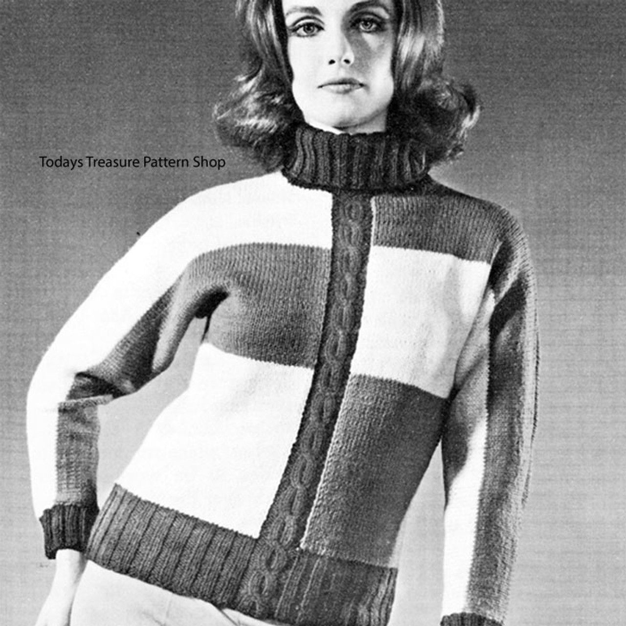Color Block Pullover in Knitting Worsted