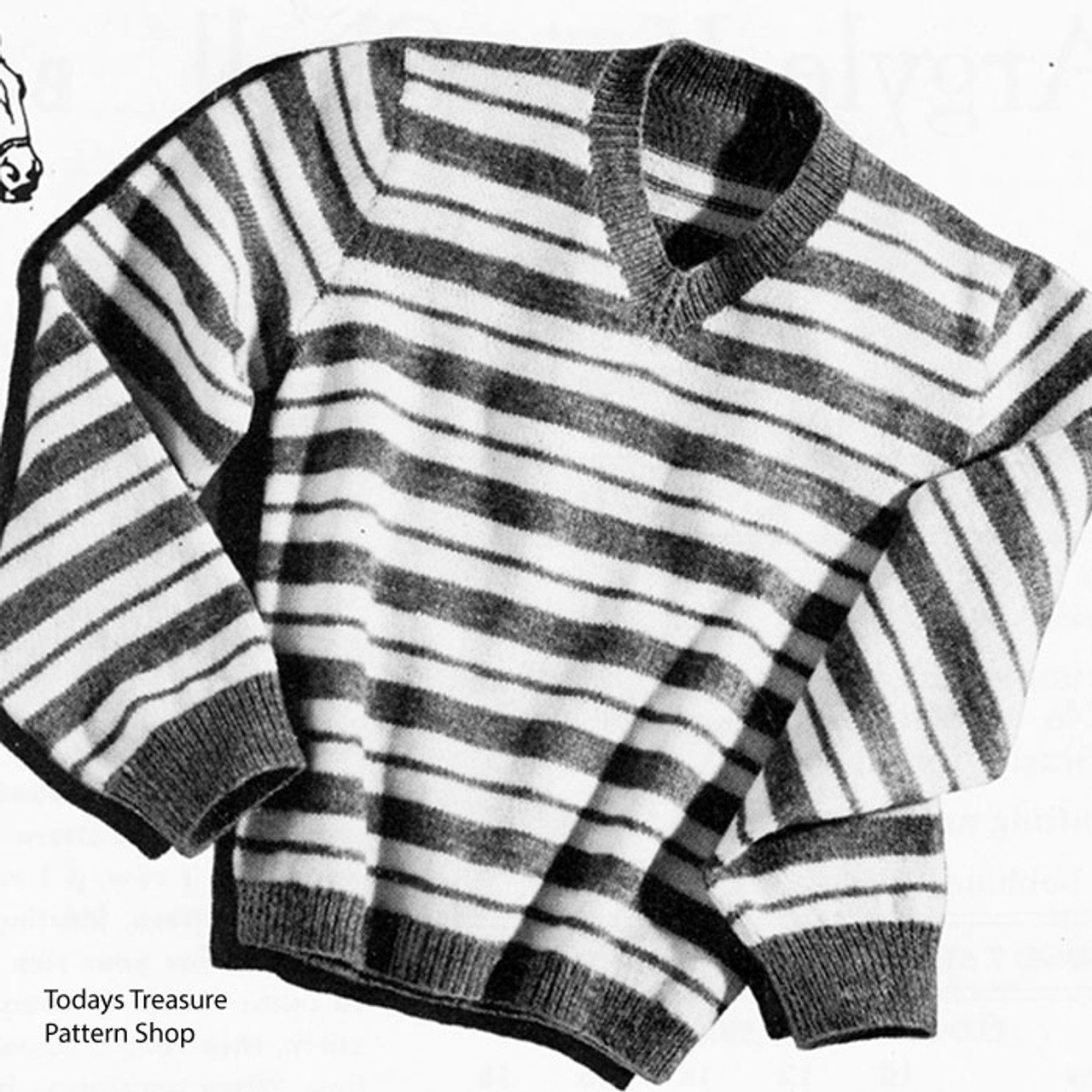 Striped Pullover Knitting Pattern, Stable Boy