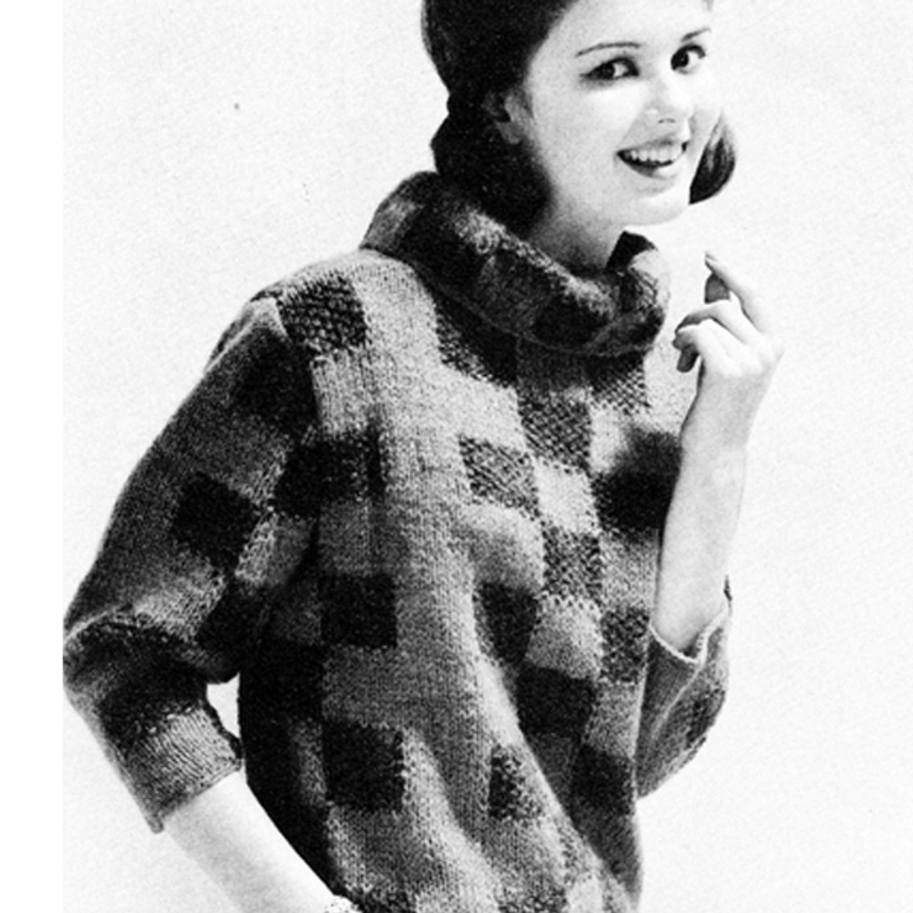 Checkerboard Knitted Pullover Pattern