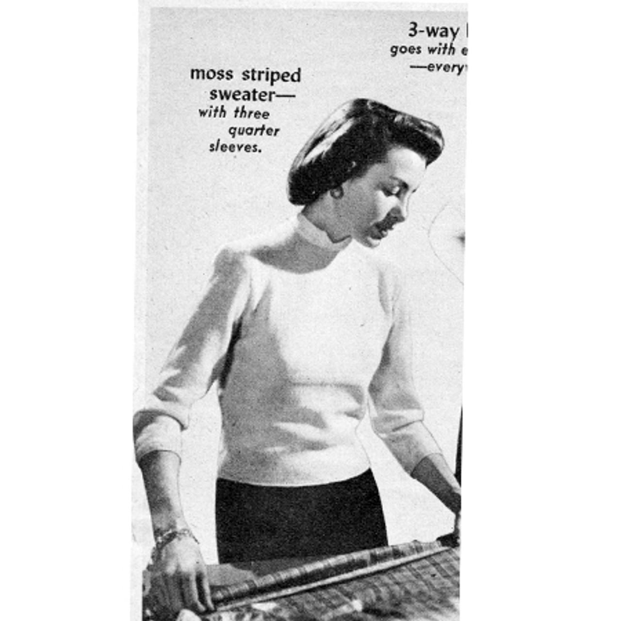 Vintage Moss Stripe Knitted Sweater Pattern