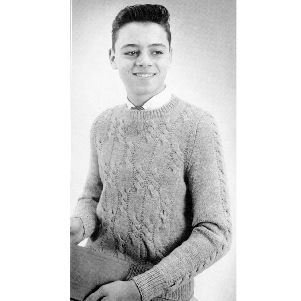 Young Mans Knitted Cable Pullover Pattern