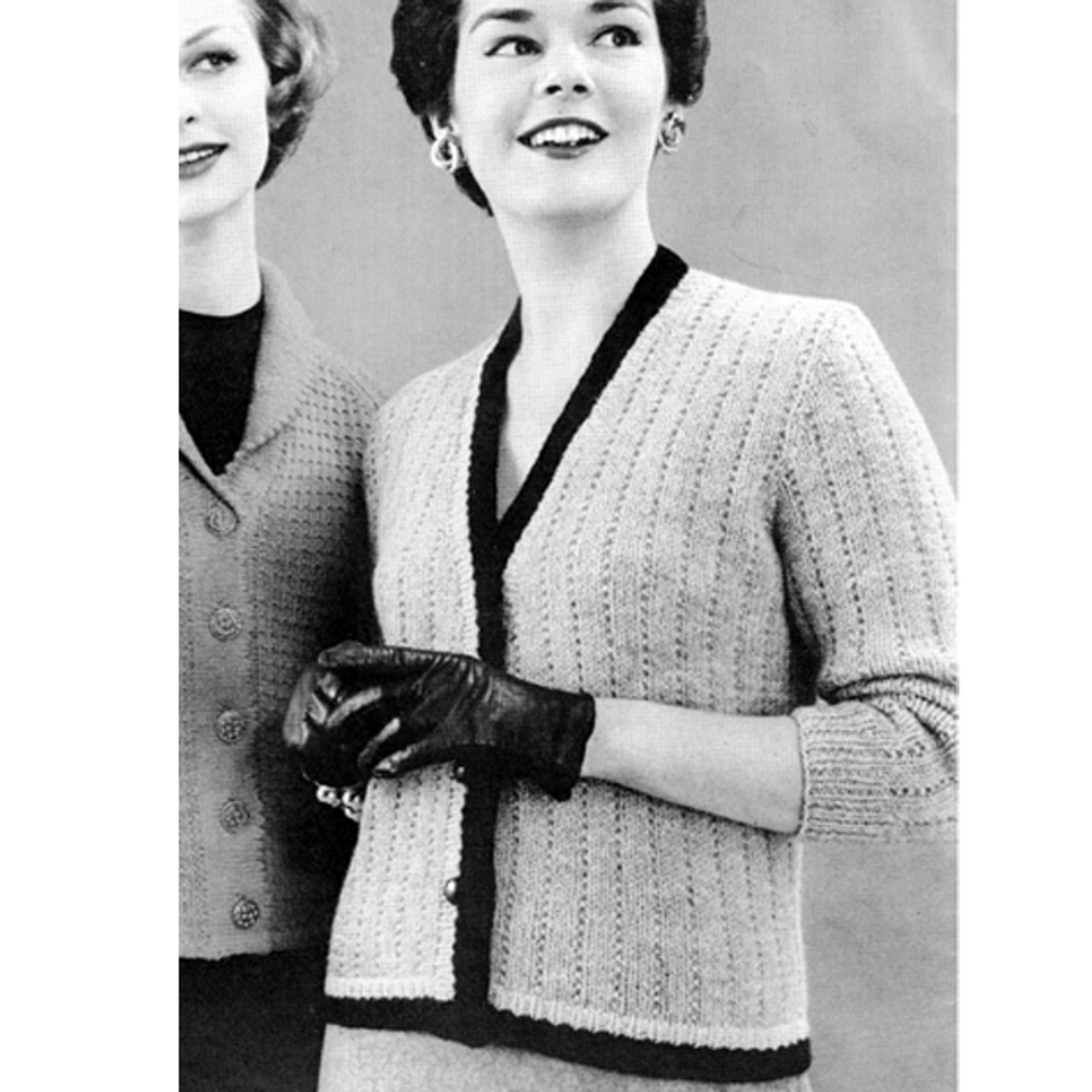 Ribbed Cardigan Knitting Pattern with contrast trim
