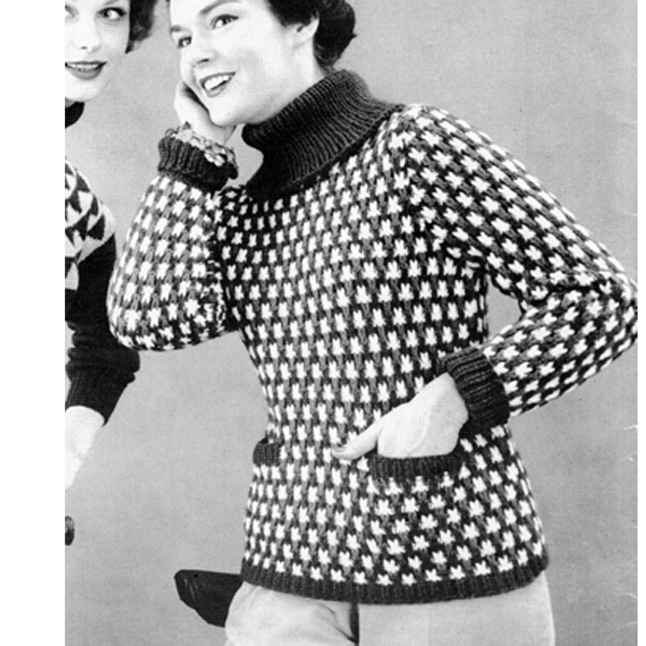 Vintage Polka Dot Pullover Knitting Pattern