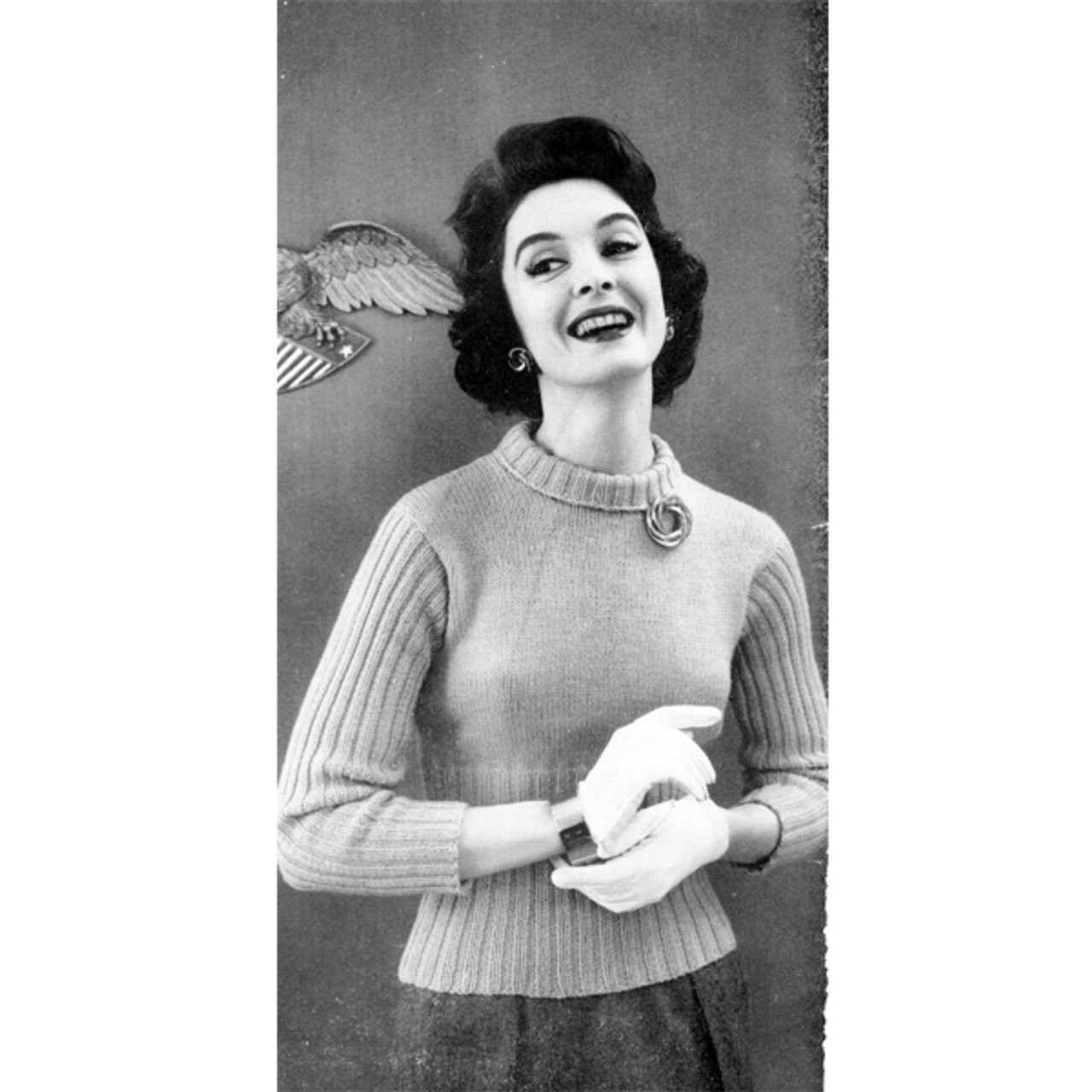 Knitting Pattern Ribbed Pullover, Vintage 1950s