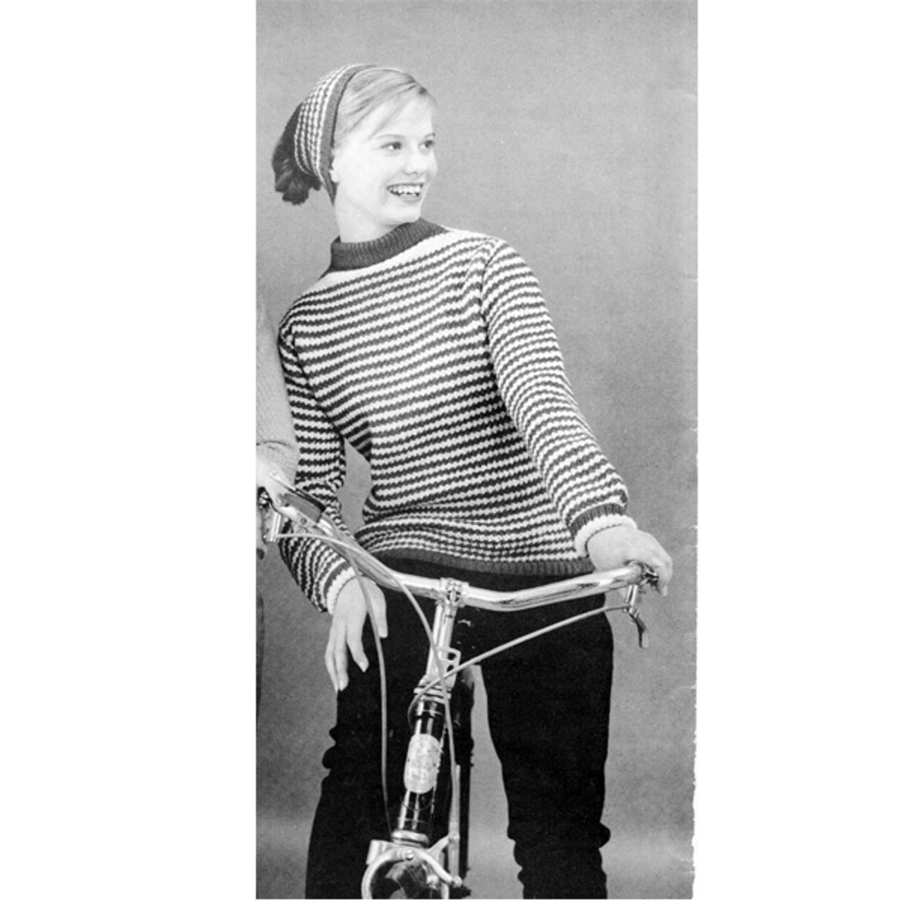 Striped Sweater Knitting Pattern, Boat Neck