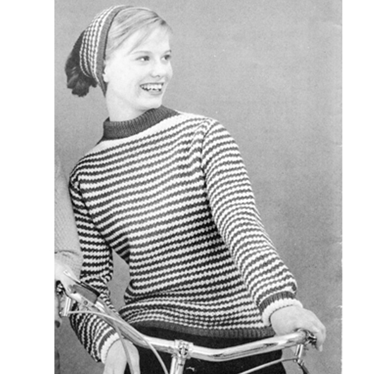 Vintage Knit Striped Pullover Pattern Nylo Germantown