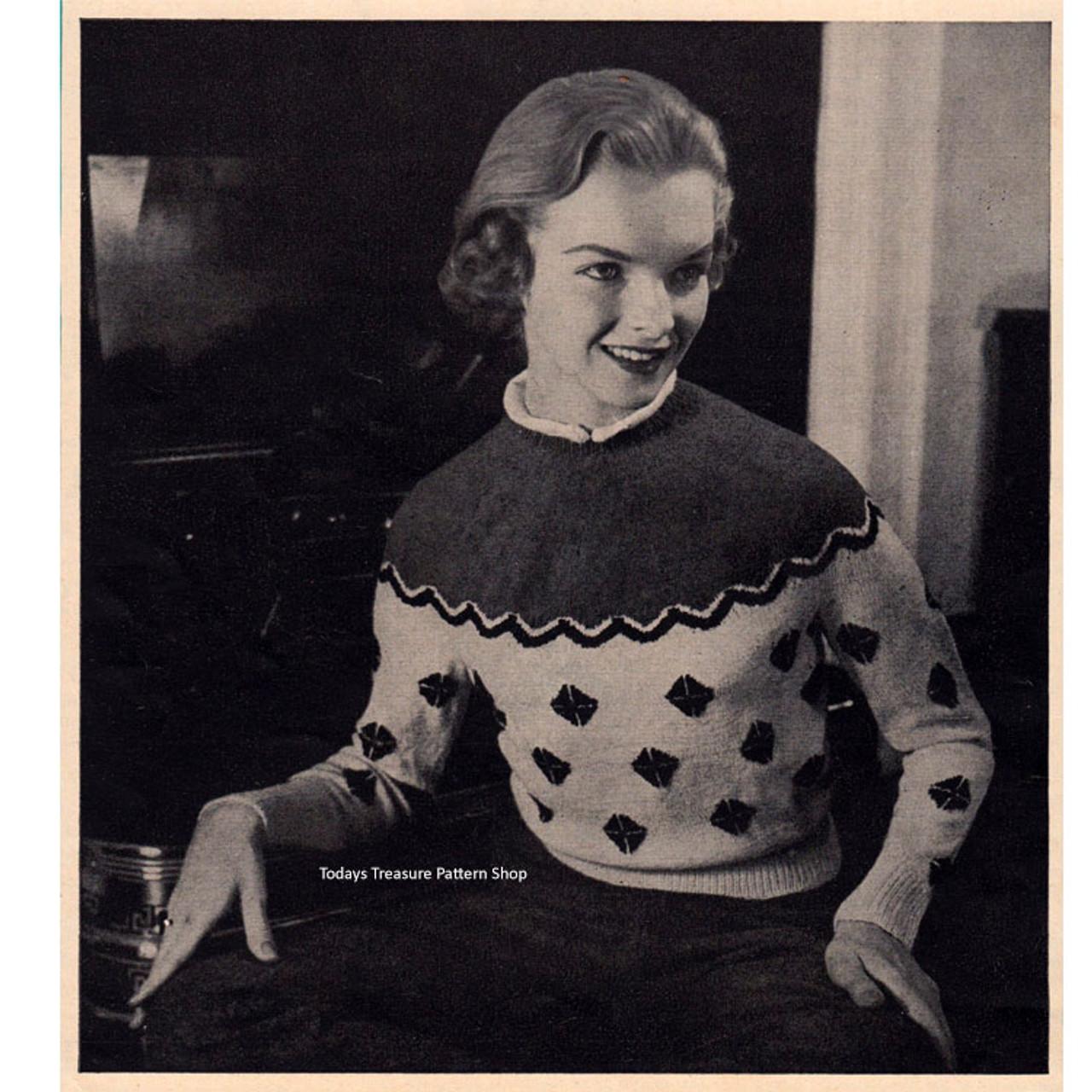 Knitting Pattern Sports Sweater with Contrast Yoke