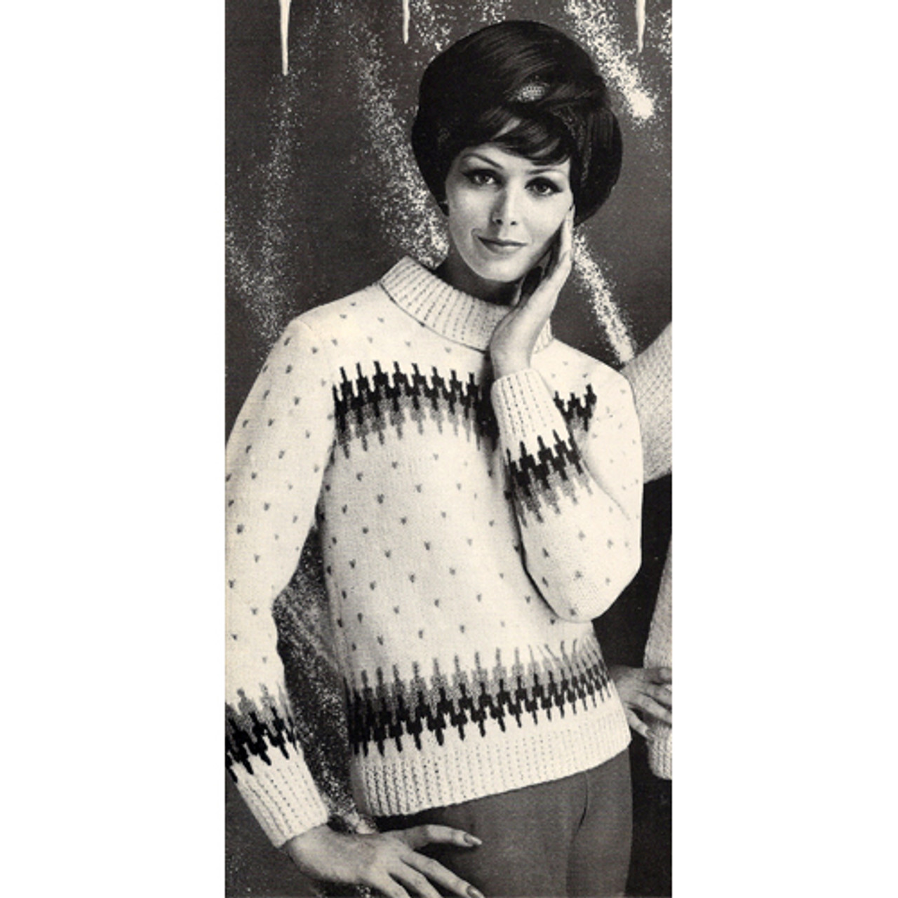 Knitted Pullover Pattern with Aztec Stripe
