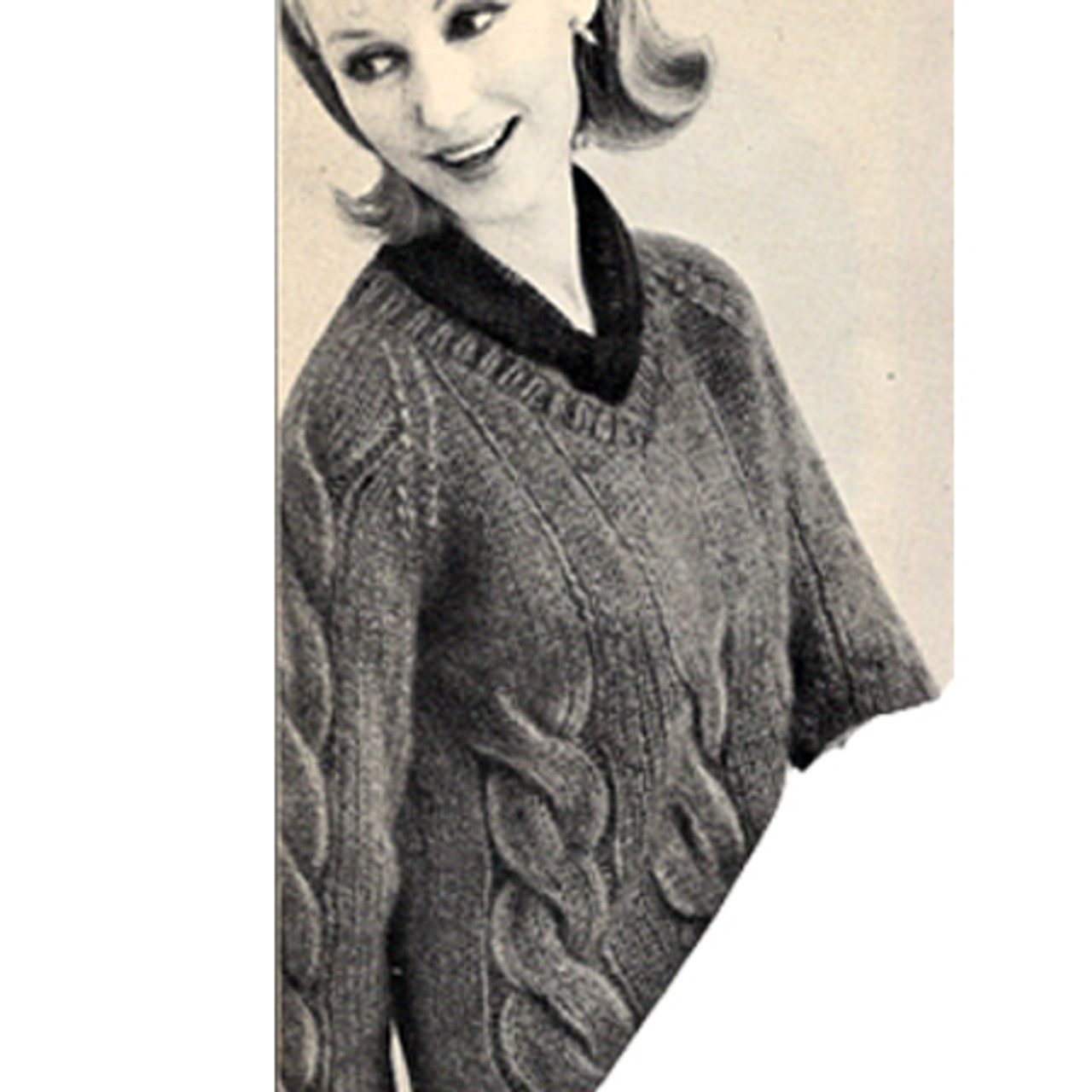 Vintage Knitted Mohair Cable Sweater Pattern