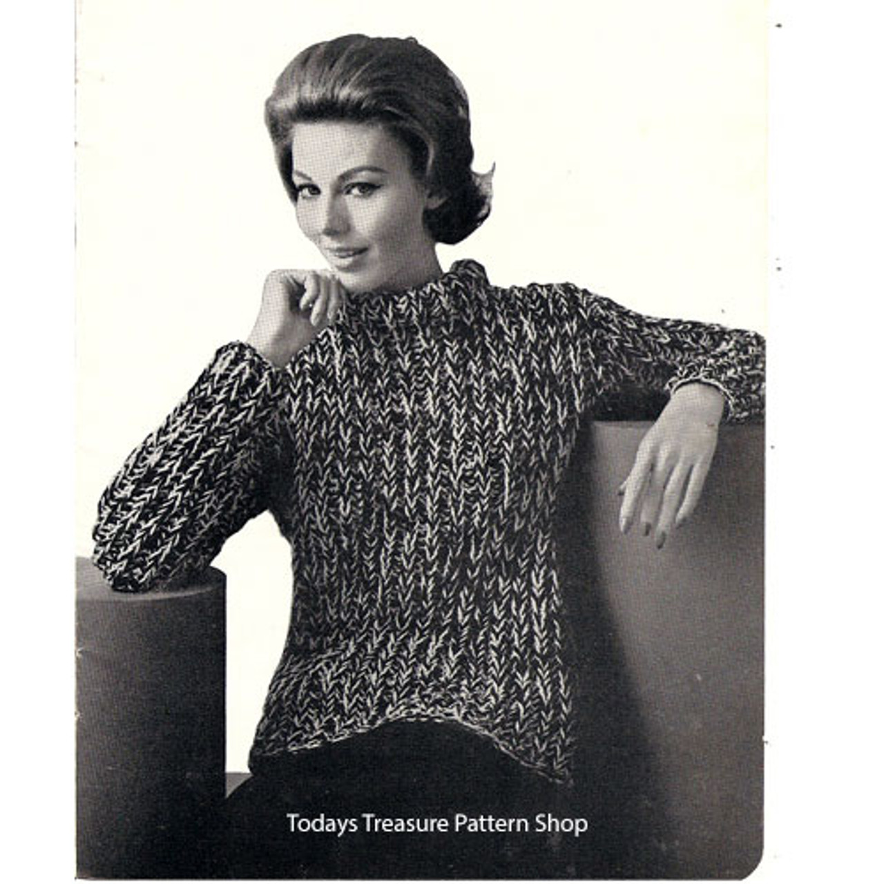 Bulky Tweed Sweater Knitting Pattern