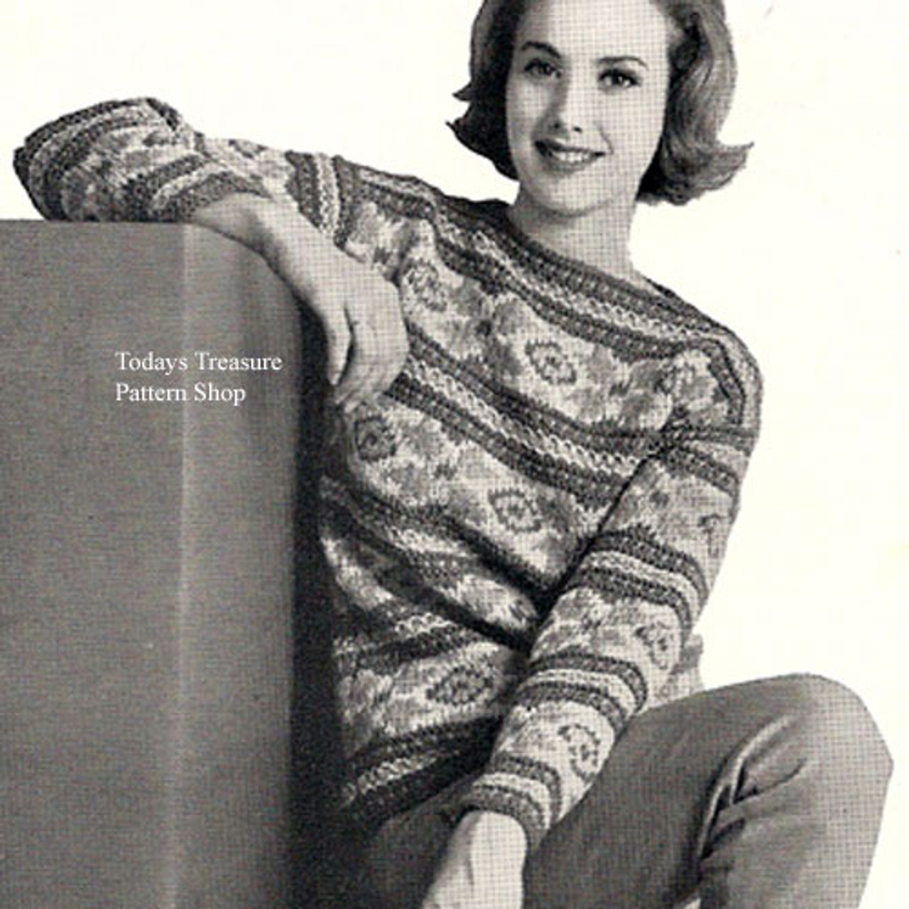 Pullover Sweater Pattern in Dawn Knitting Worsted