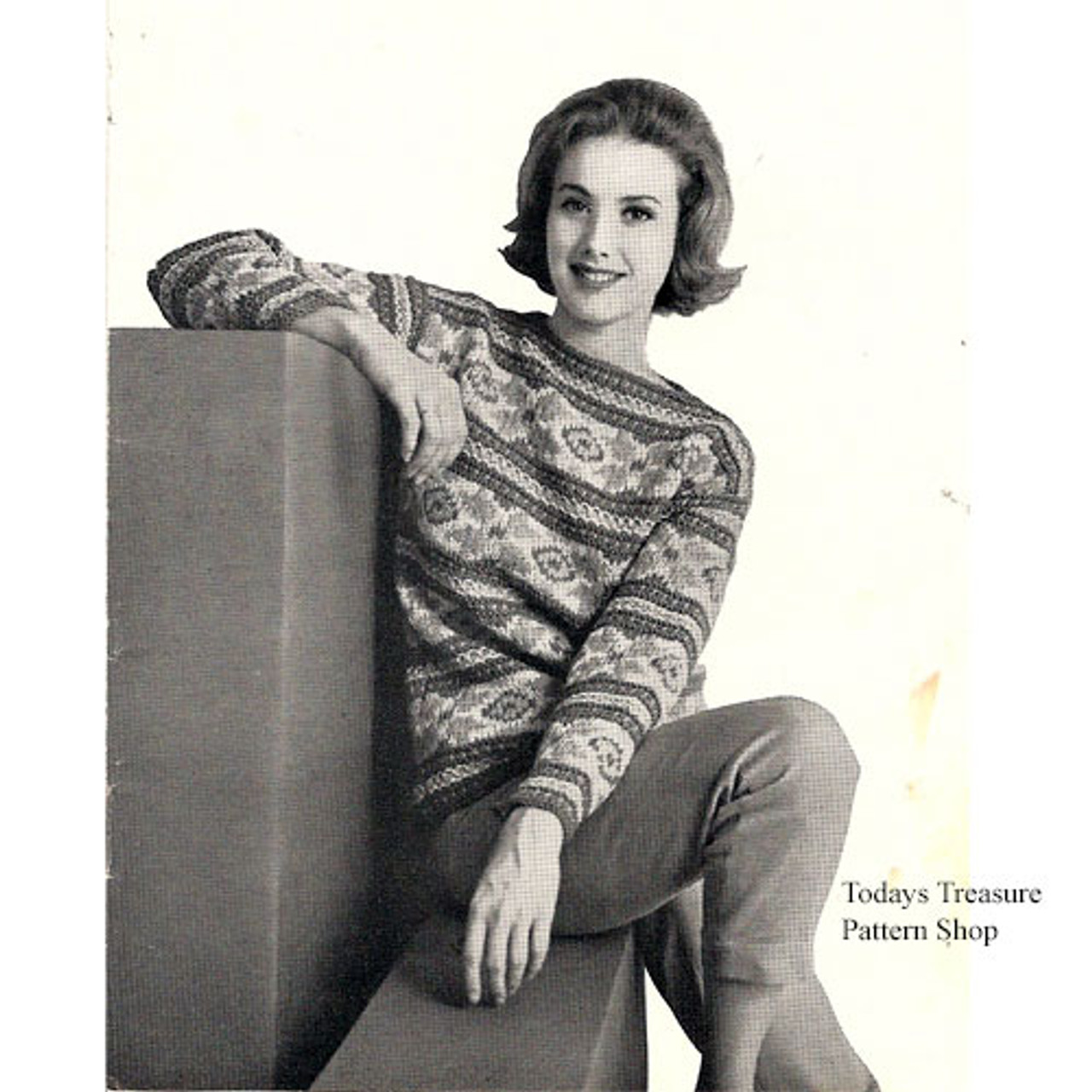 Knitting Pattern flower striped sweater