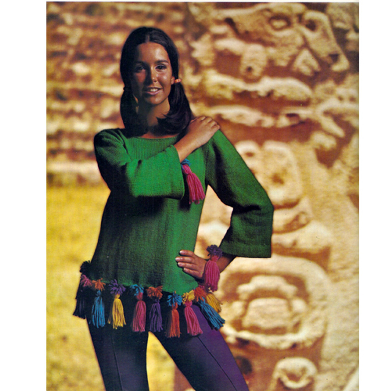 Knitting Pattern Long Sleeve Pullover with Tassel Trim