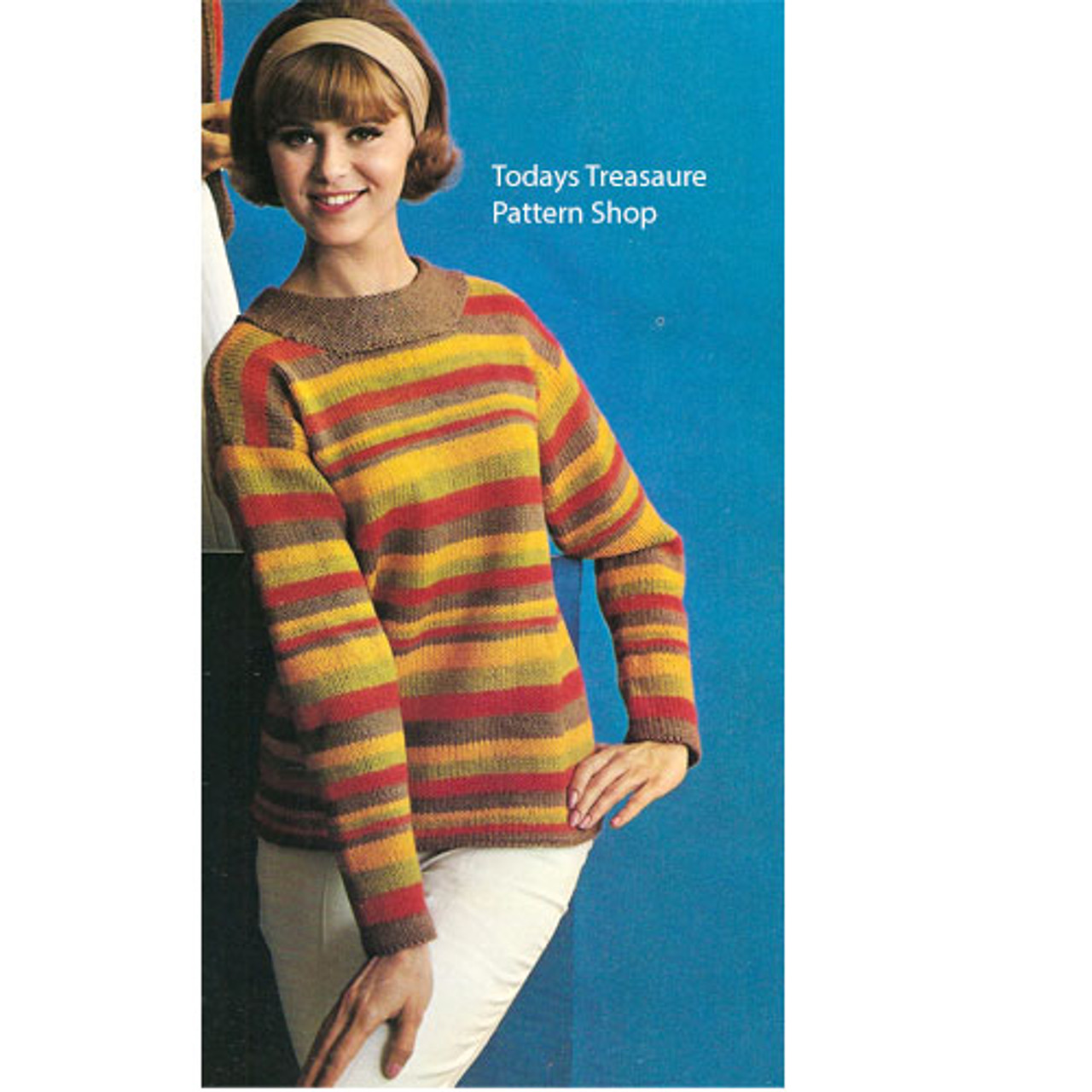 Vintage Knitting Pattern for Striped Sweater