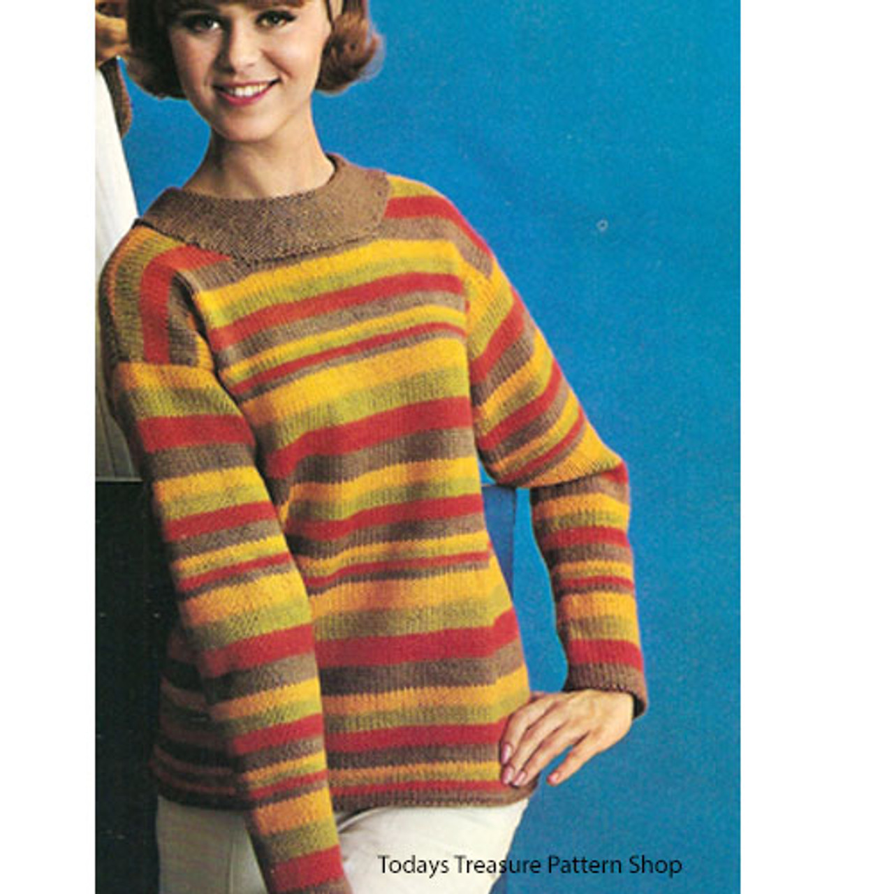 Easy Knitted Pullover Pattern in Dawn Knitting Worsted