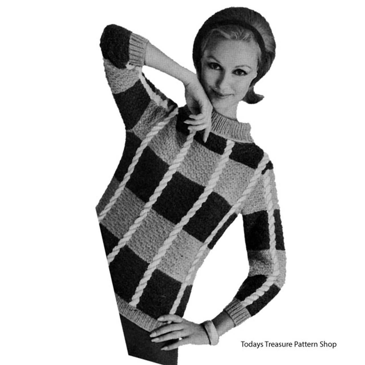 Striped Pullover Knitting Pattern, Vintage 1960s