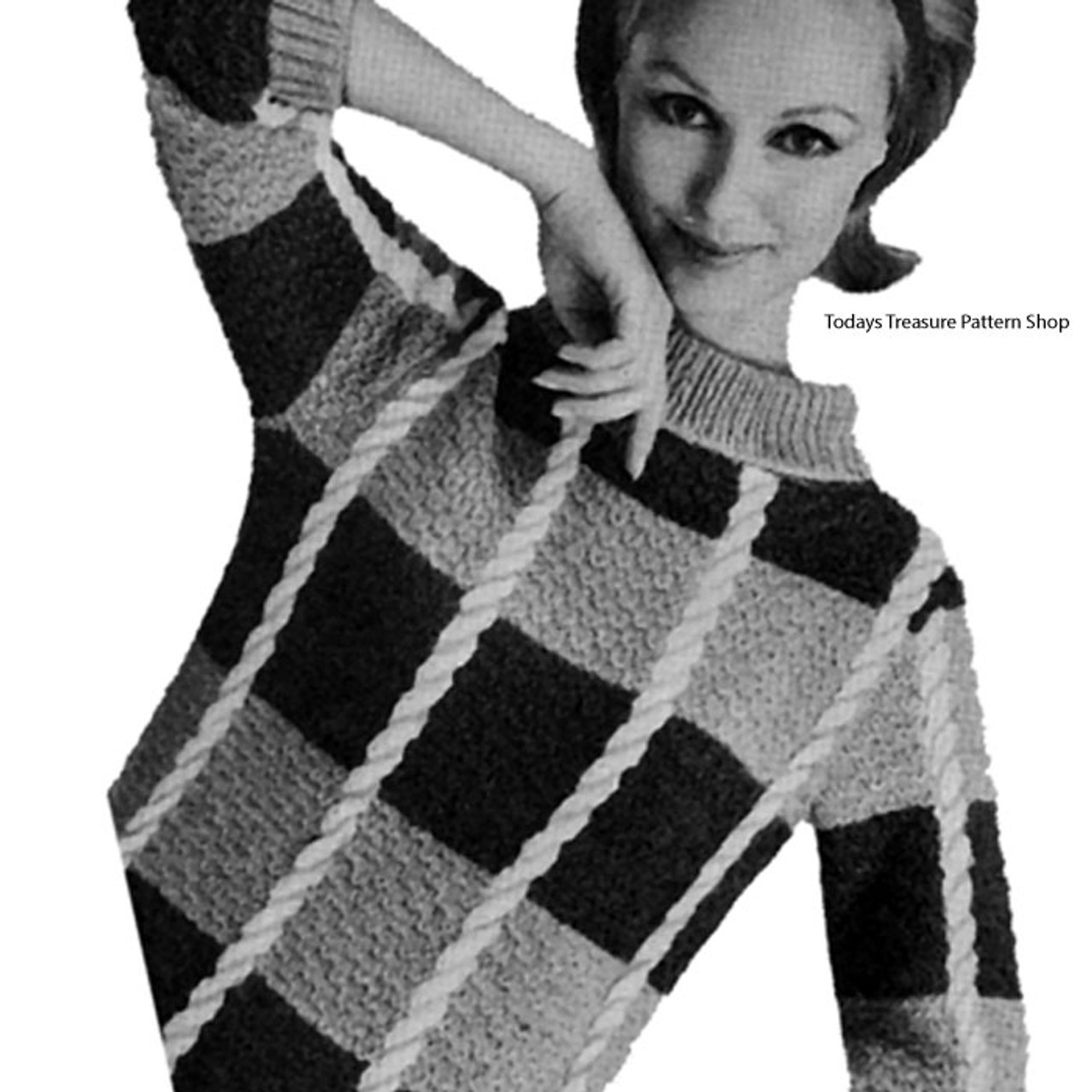 Jumbo Checked Knitted Pullover Pattern