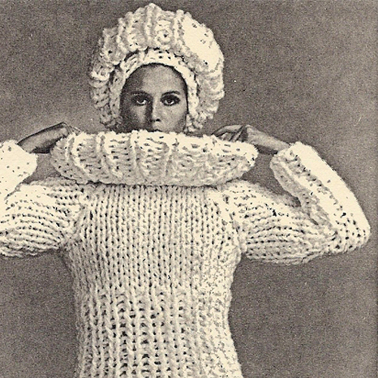 Big Needle Knitted Pullover Sweater with Cap Pattern