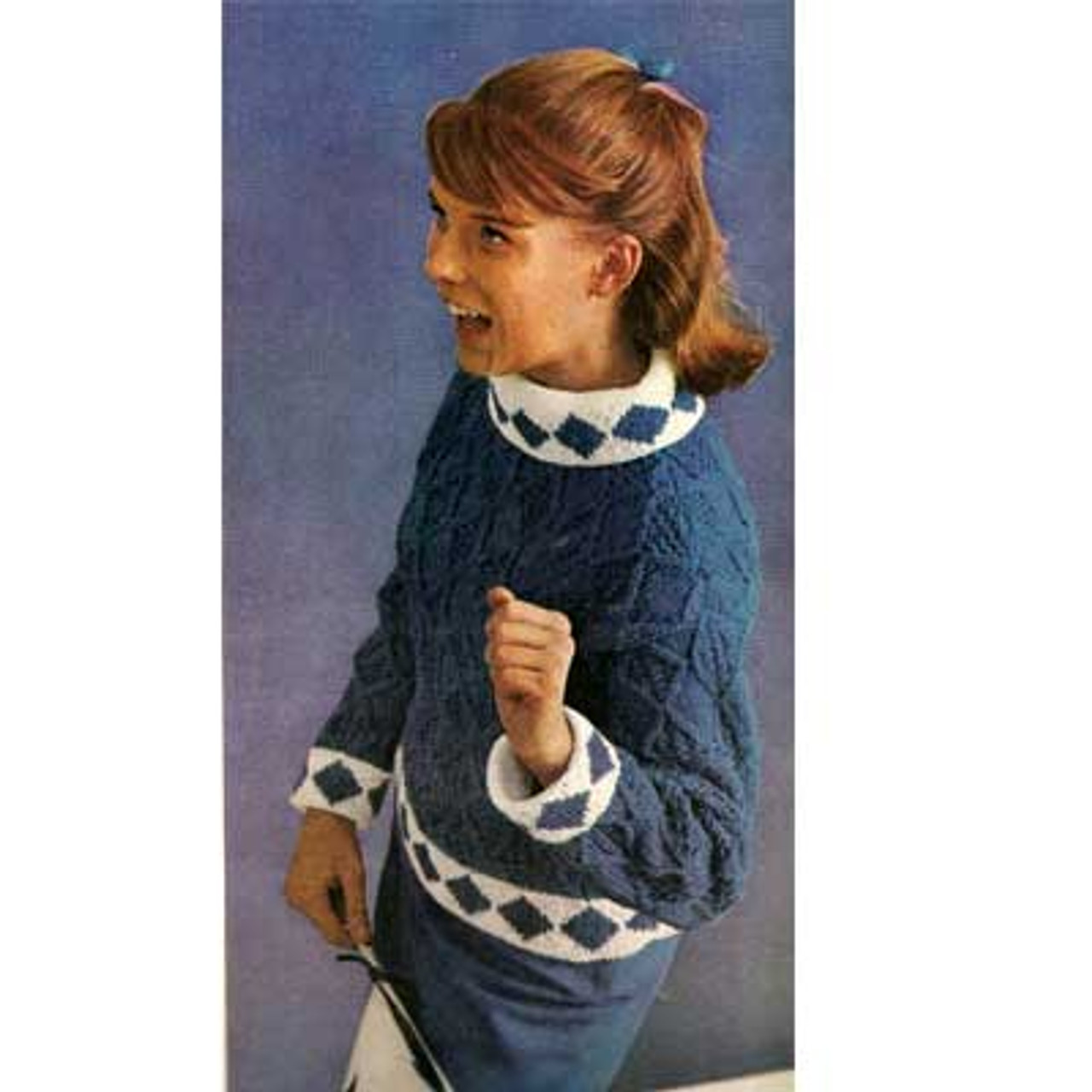 Blue Diamond Knitted Pullover Pattern