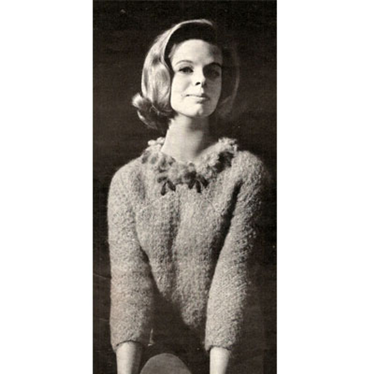 Ribbed Pullover Sweater Pattern in Diamond Fairknit Mohair