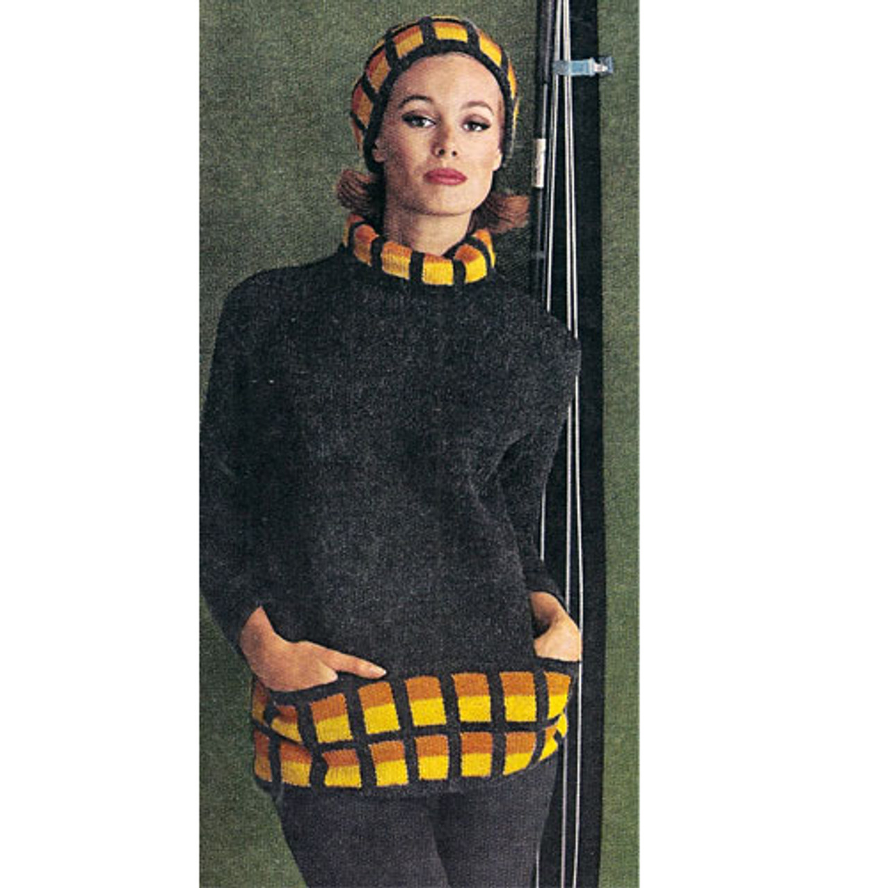 Knitted Pullover with Checkerboard Trim and Hat