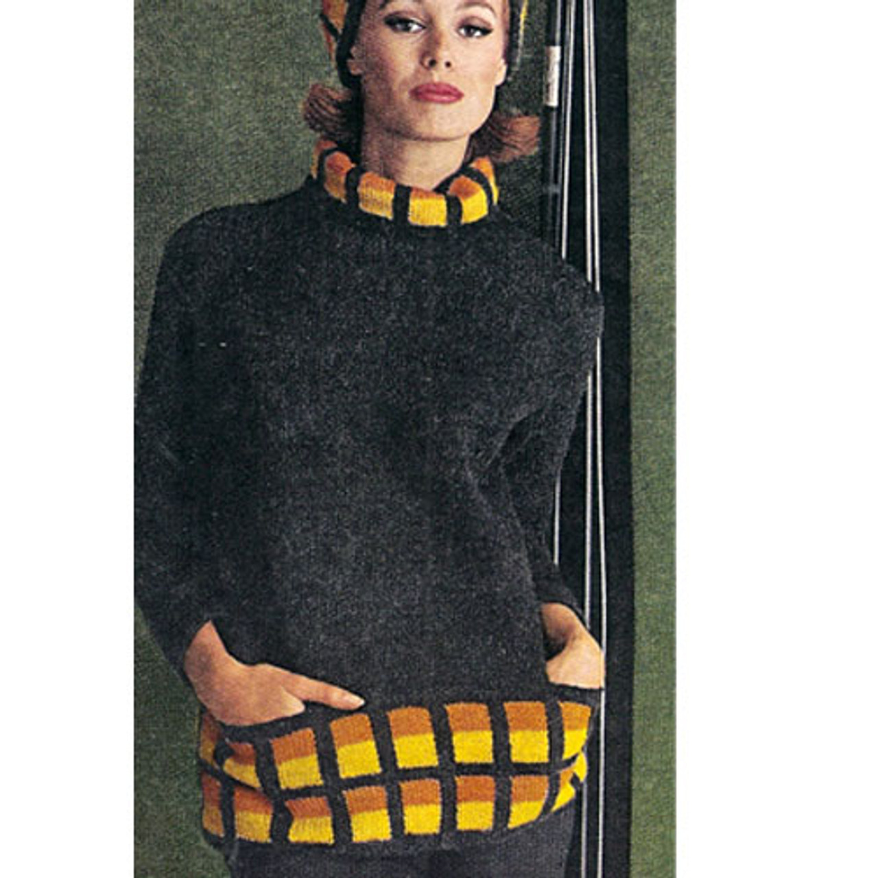 Vintage Knit Pullover with Front Pockets Pattern from Ungers