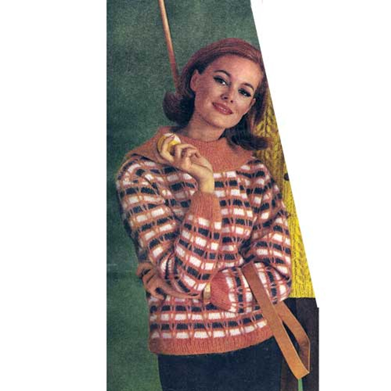 Plaid Pullover Knitting Pattern with Shawl Collar
