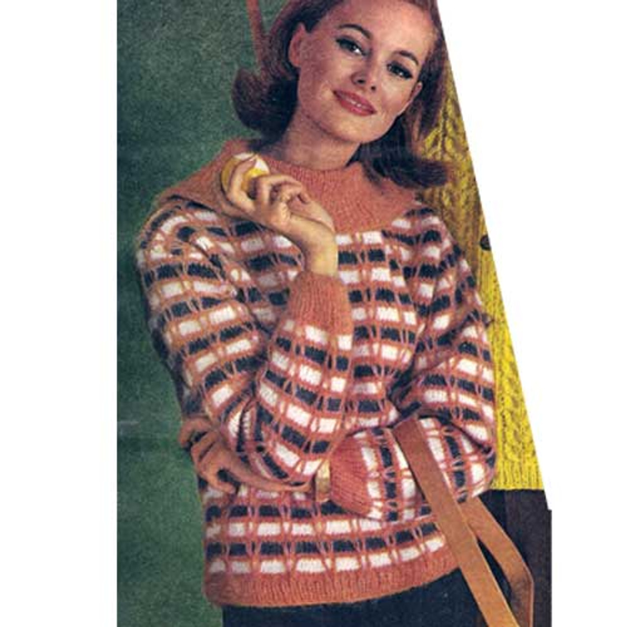 Vintage Plaid Pullover Knitting Pattern in Spinnerin Frostlon Petite Yarn
