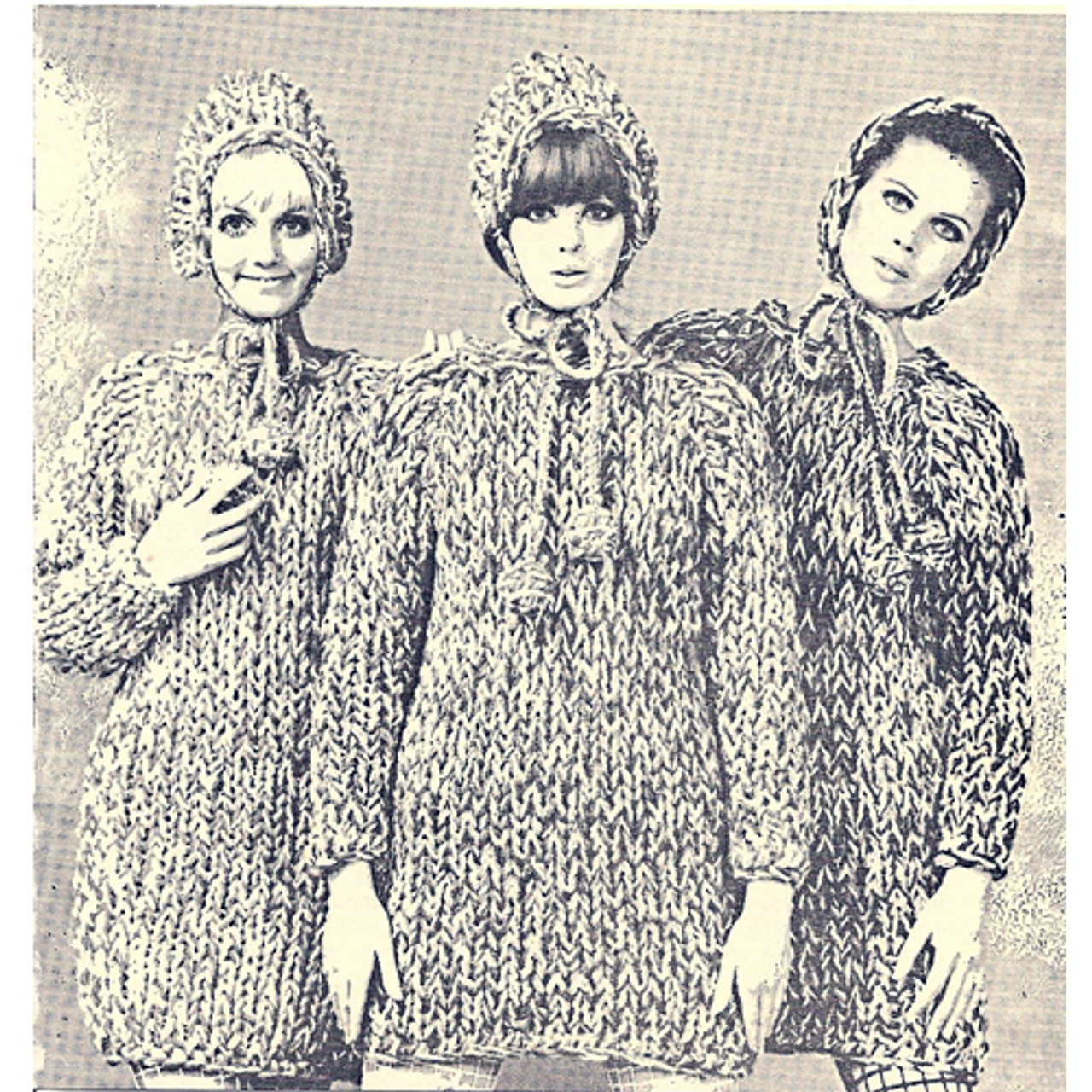 Big Needle Knitted Tunic Pattern, Vintage 1960s