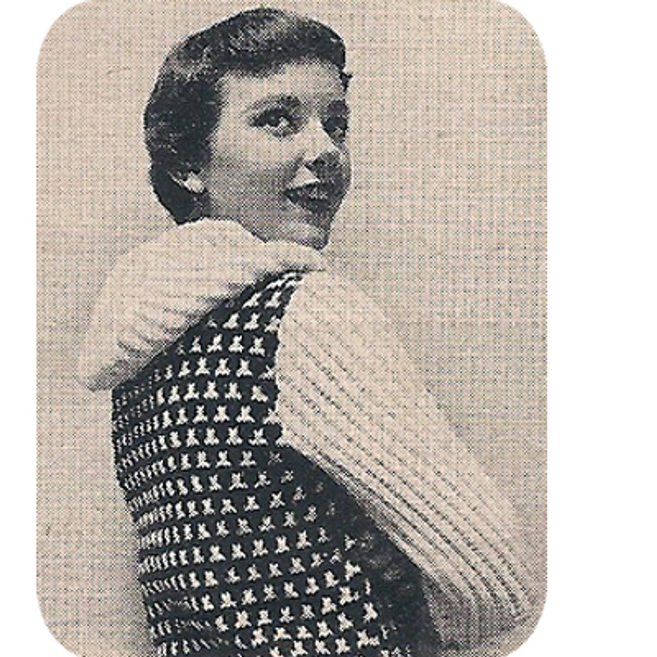 Vintage Checked Hooded Pullover Knitting Pattern