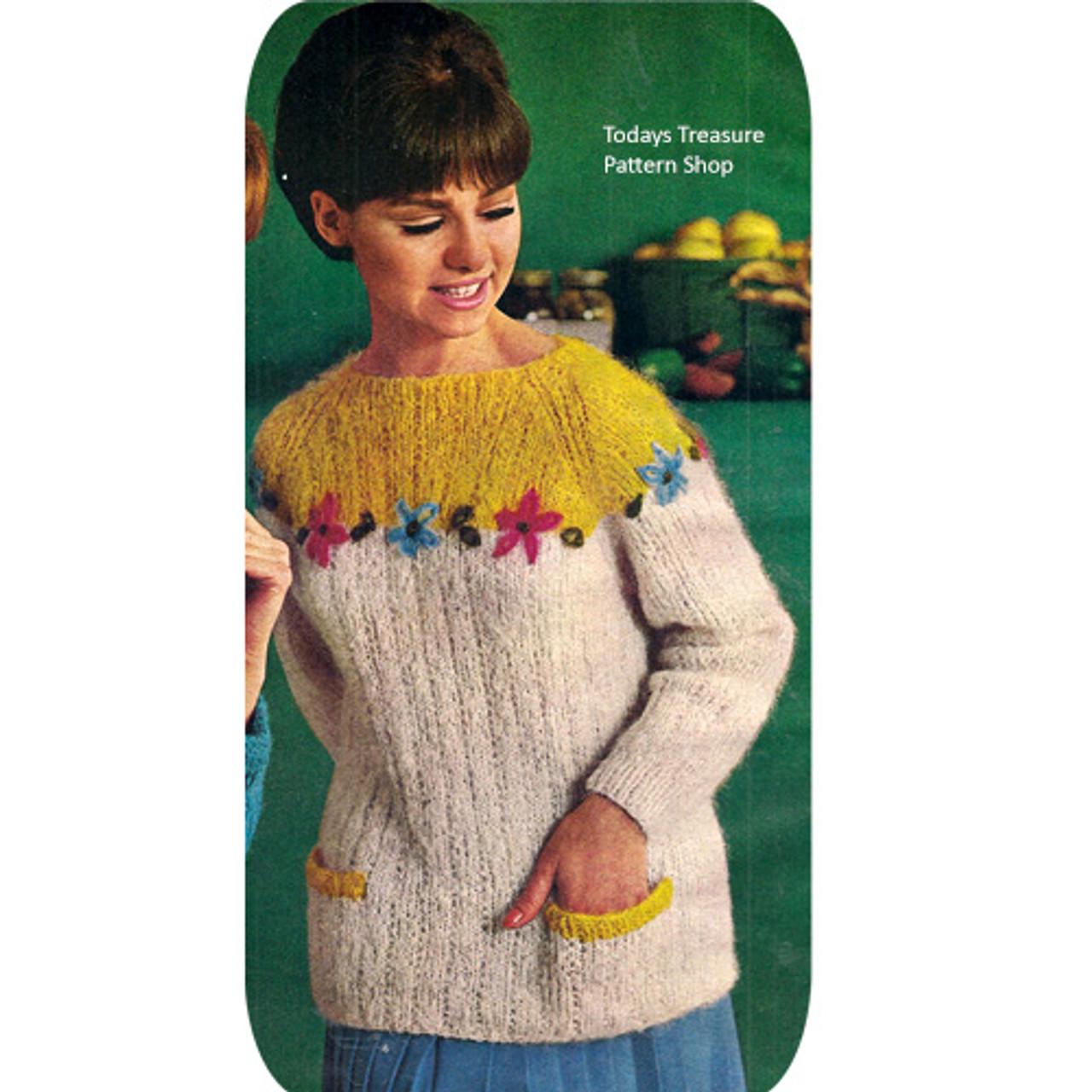 Mohair Flower Yoke Slipon Pattern, Vintage 1960s